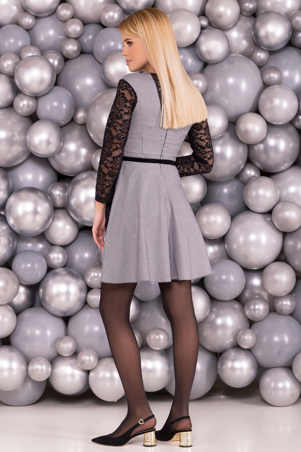 Платье с гипюровыми вставками Кассия 3851 Цвет: Черный/белый1/1