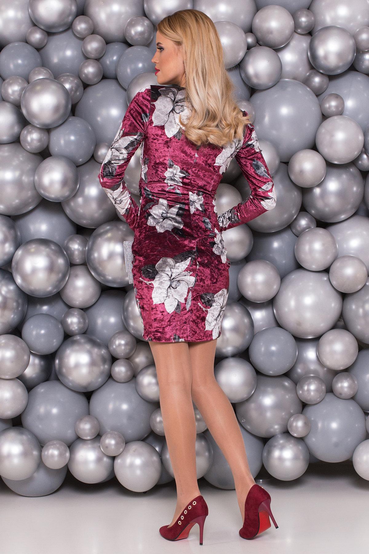 Платье Ламия 4660 АРТ. 33651 Цвет: Марсала цветы крупные - фото 2, интернет магазин tm-modus.ru