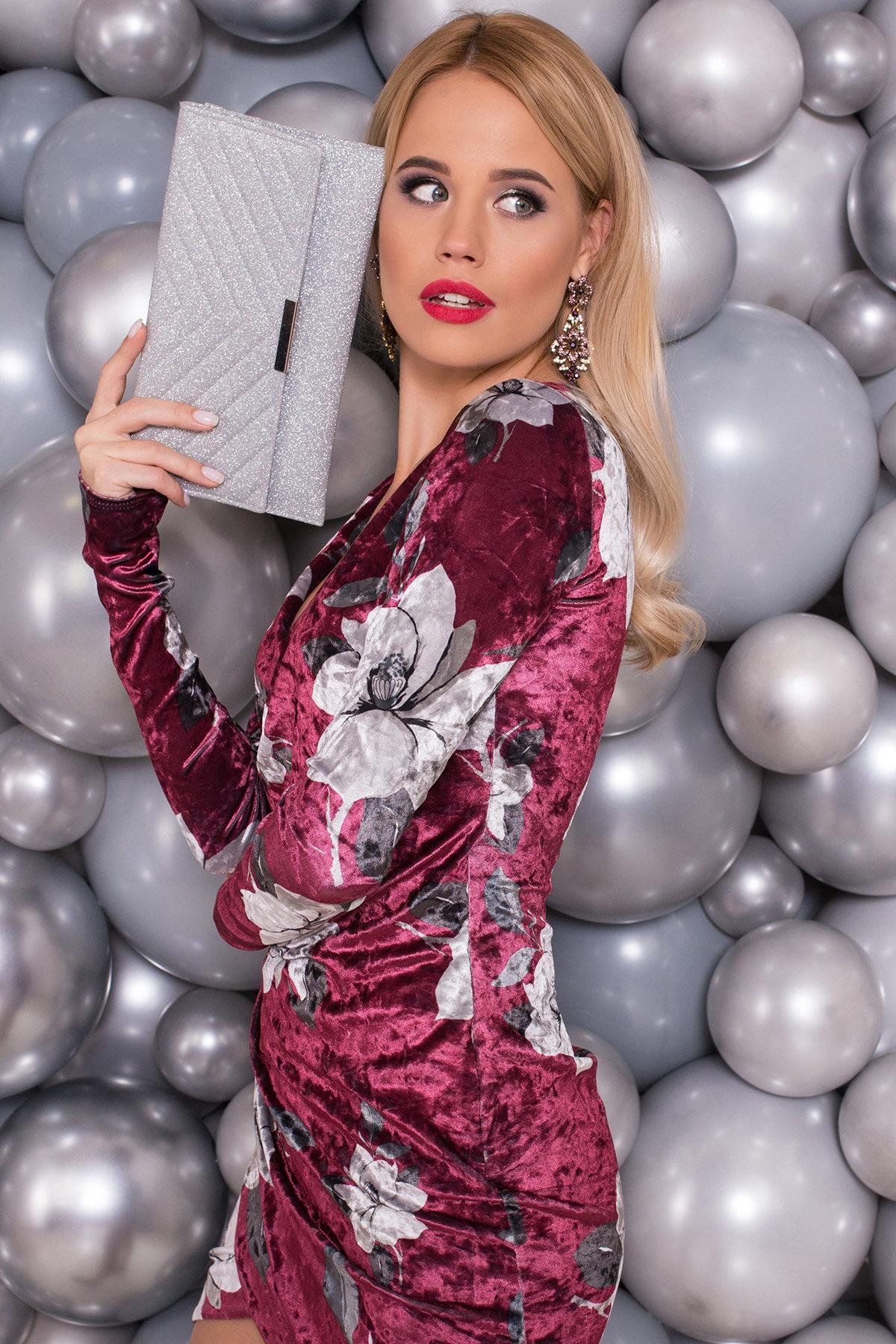 Платье Ламия 4660 АРТ. 33651 Цвет: Марсала цветы крупные - фото 3, интернет магазин tm-modus.ru