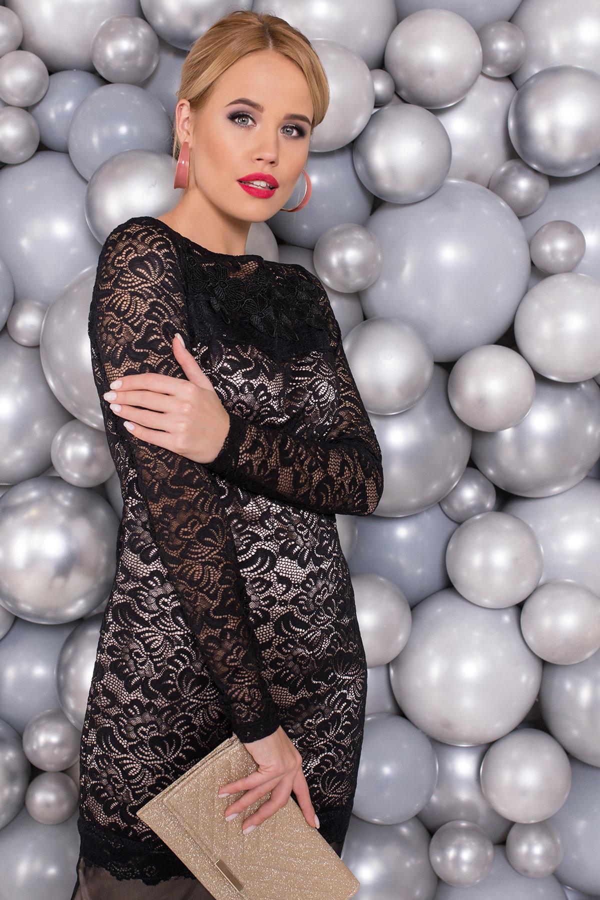 Гипюровое Платье Россини 4319 АРТ. 21130 Цвет: Черный/беж вензеля - фото 3, интернет магазин tm-modus.ru
