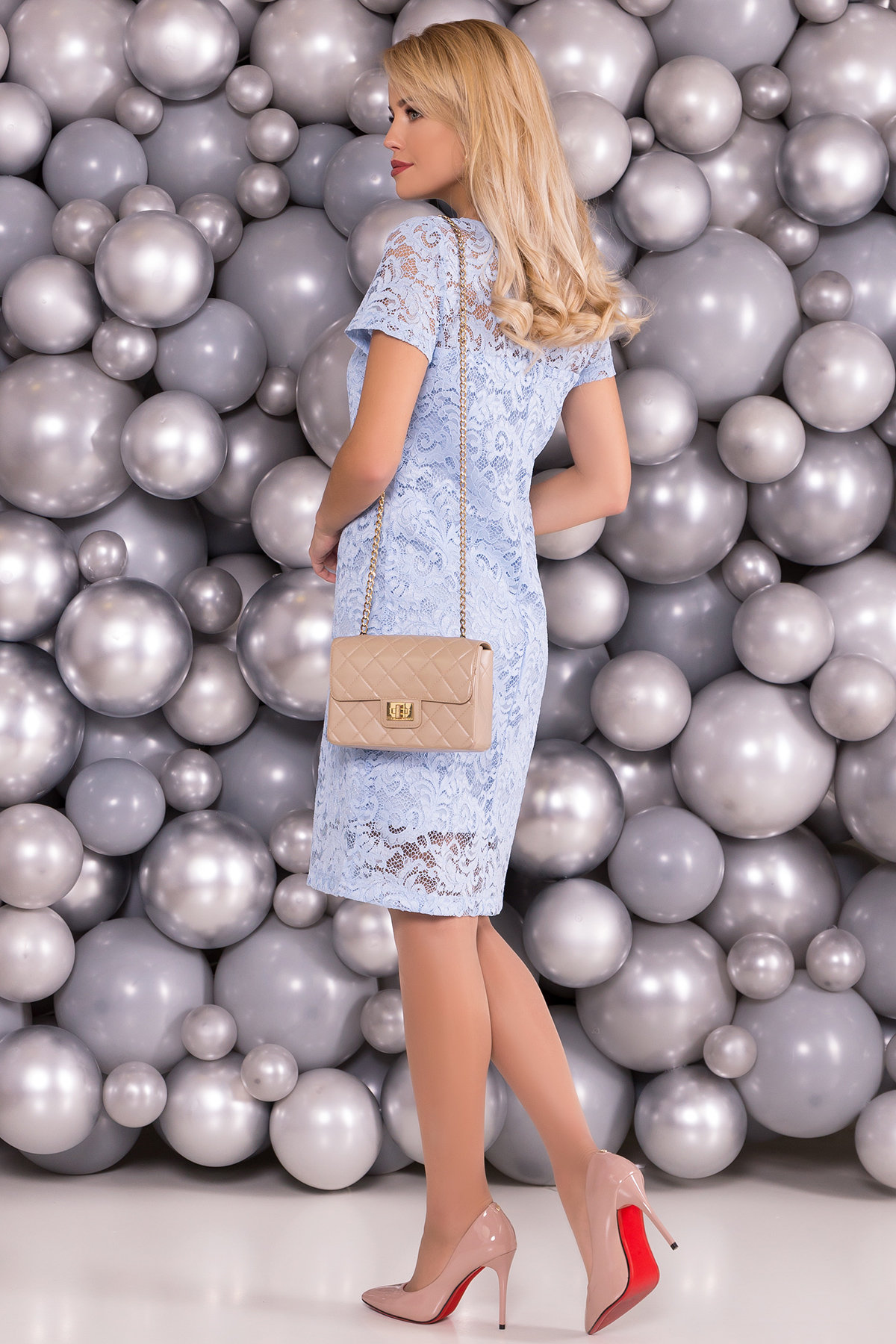 Платье Винтаж 3107 АРТ. 16056 Цвет: Голубой - фото 2, интернет магазин tm-modus.ru