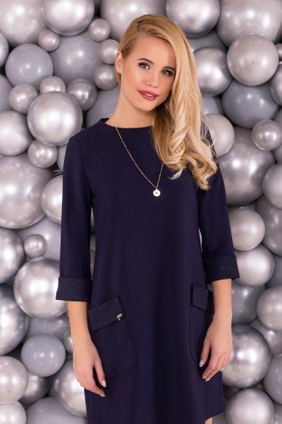 Платье с накладными карманами Соул 5798 Цвет: Темно-синий