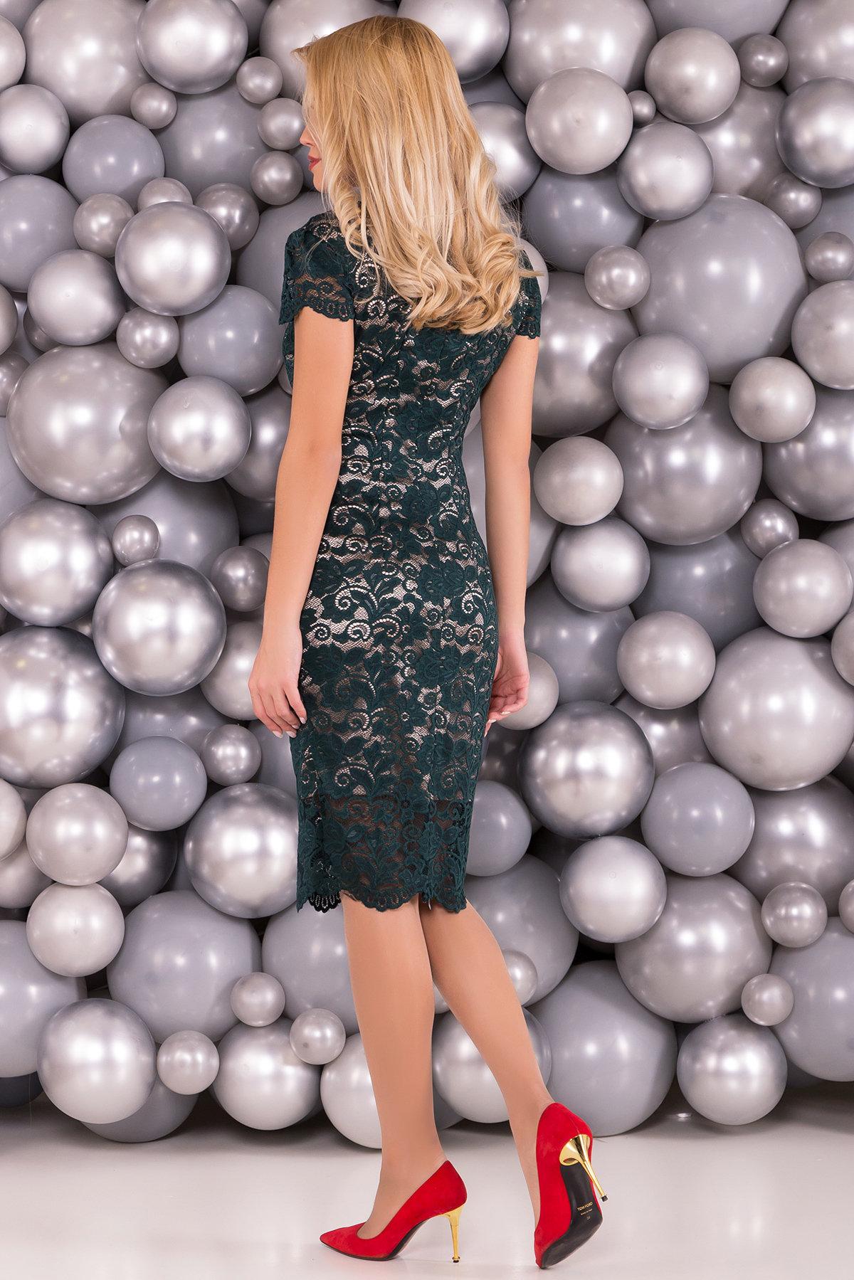 Платье Лук 4105 АРТ. 20779 Цвет: Зеленый Темный/бежевый - фото 2, интернет магазин tm-modus.ru