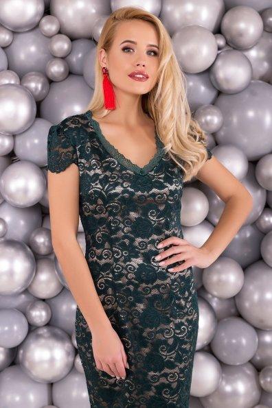 Платье Лук 4105 Цвет: Зеленый Темный/бежевый