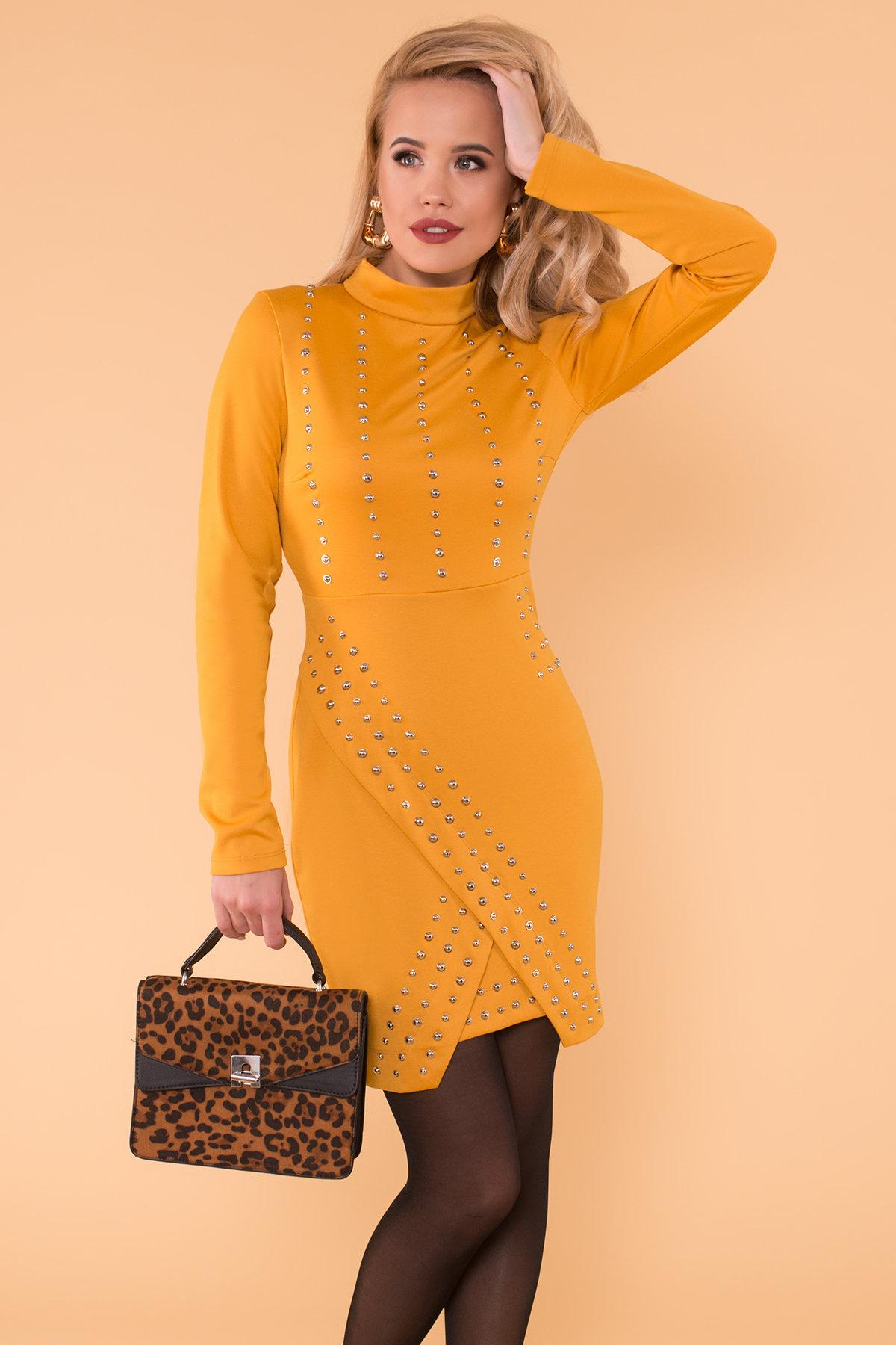 Облегающее короткое Платье Дюке 4430 Цвет: Горчица