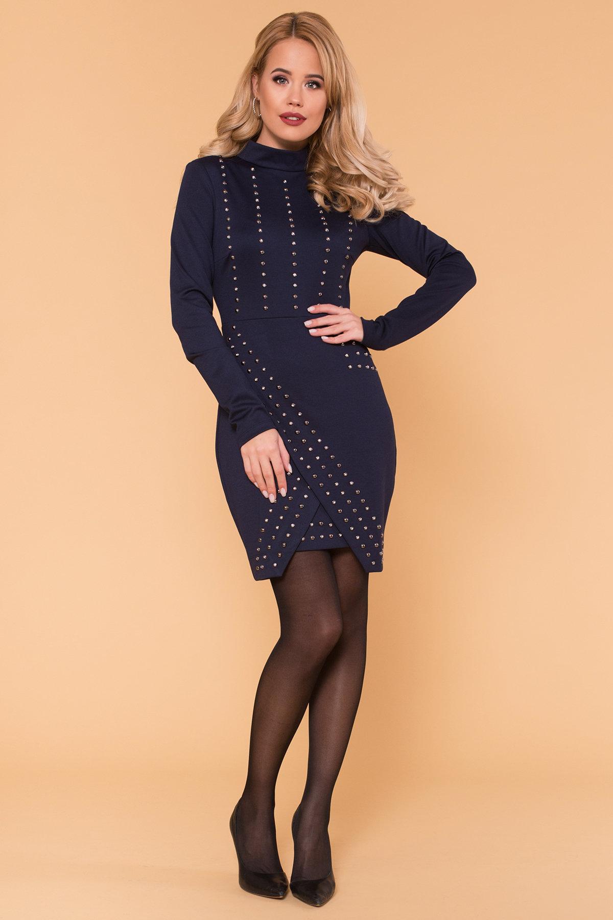 Облегающее короткое Платье Дюке 4430 Цвет: Темно-синий