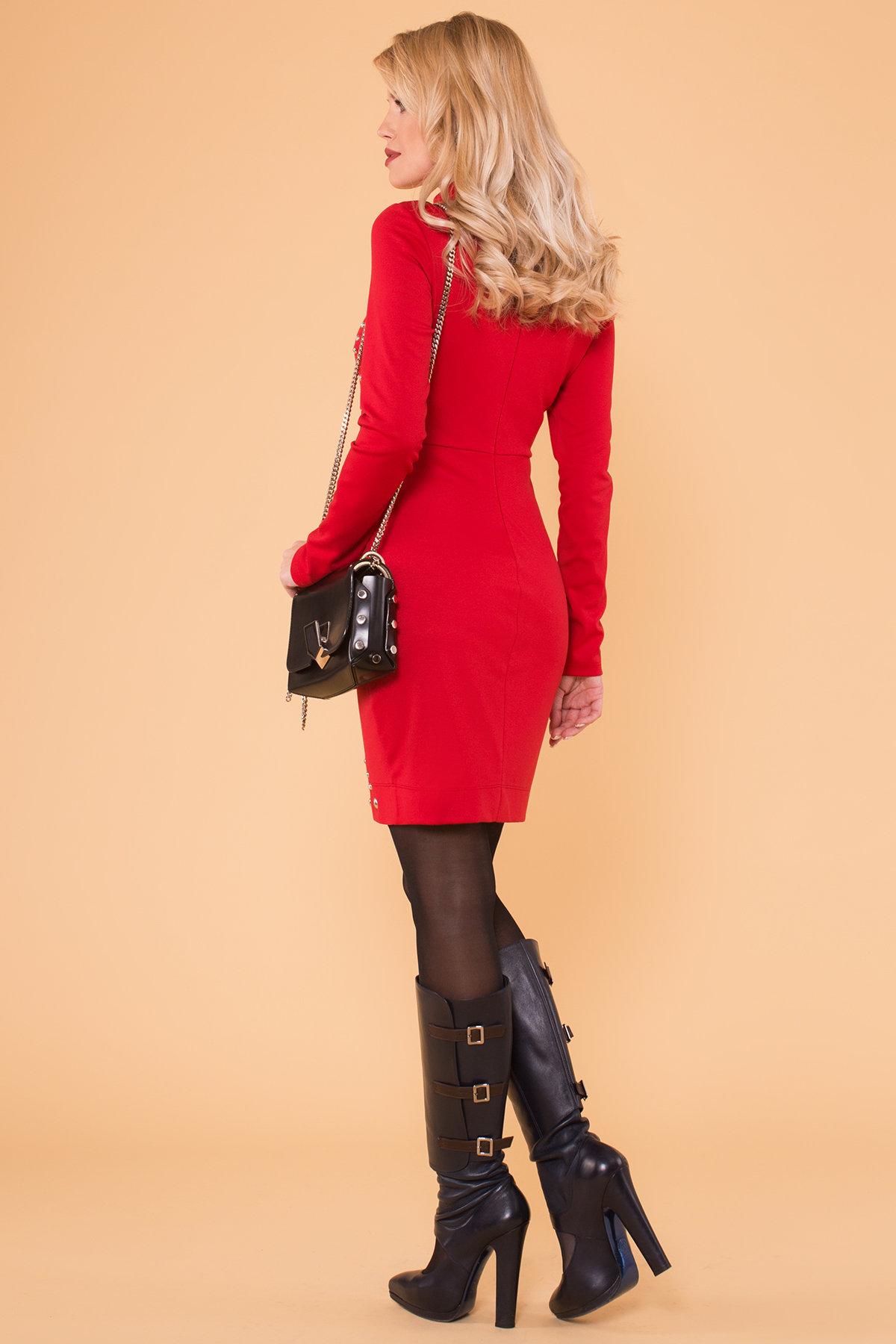Облегающее короткое Платье Дюке 4430 АРТ. 21335 Цвет: Красный - фото 2, интернет магазин tm-modus.ru