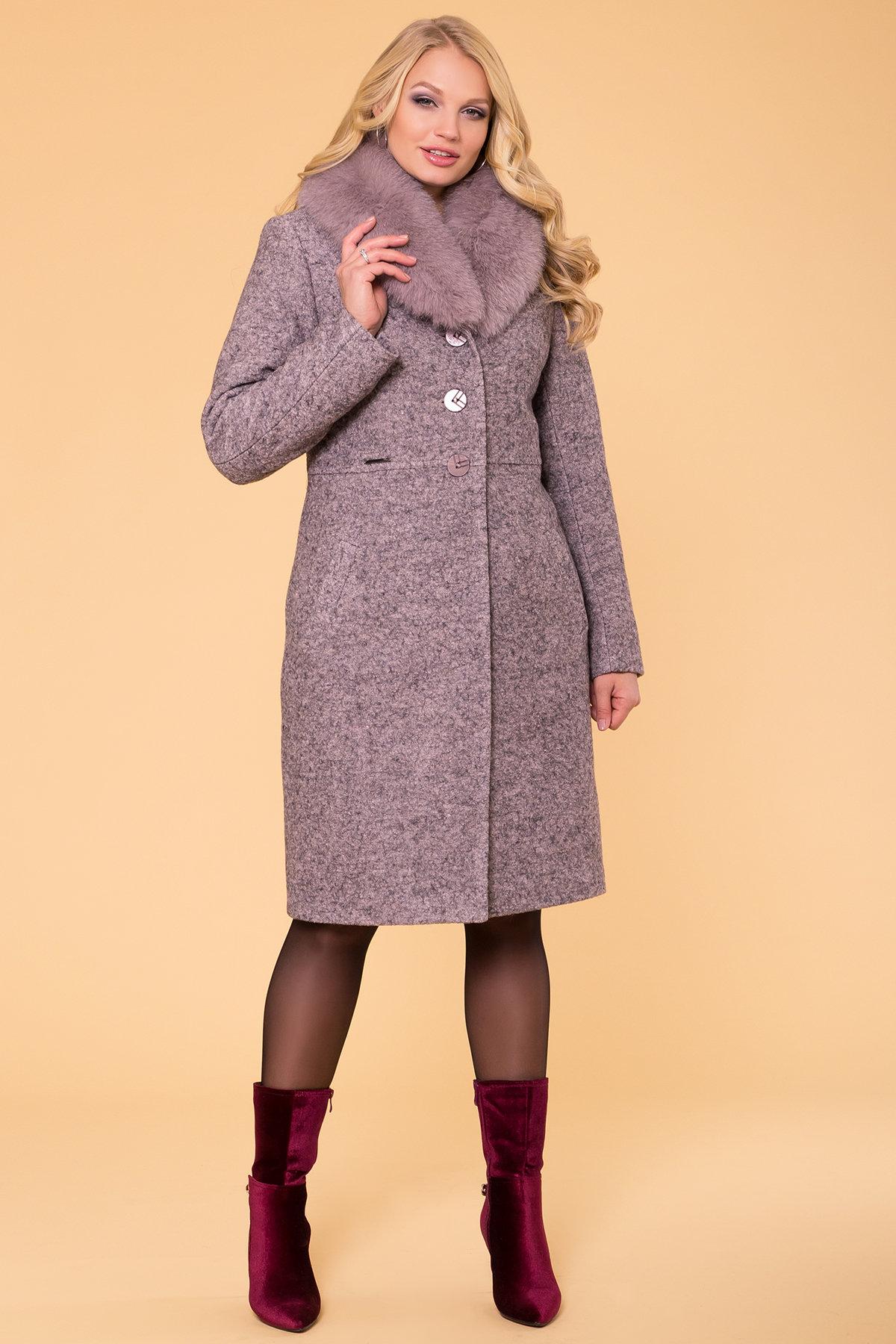Пальто зима Габриэлла Donna 6048 Цвет: Серо-розовый LW-25