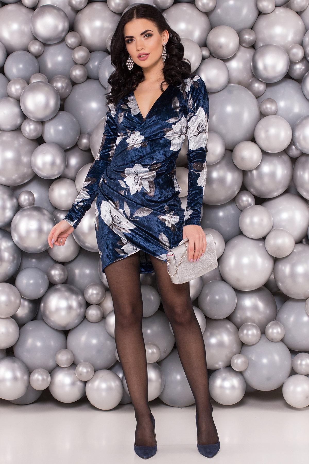 Платье Ламия 4660 Цвет: Темно-синий цветы крупные