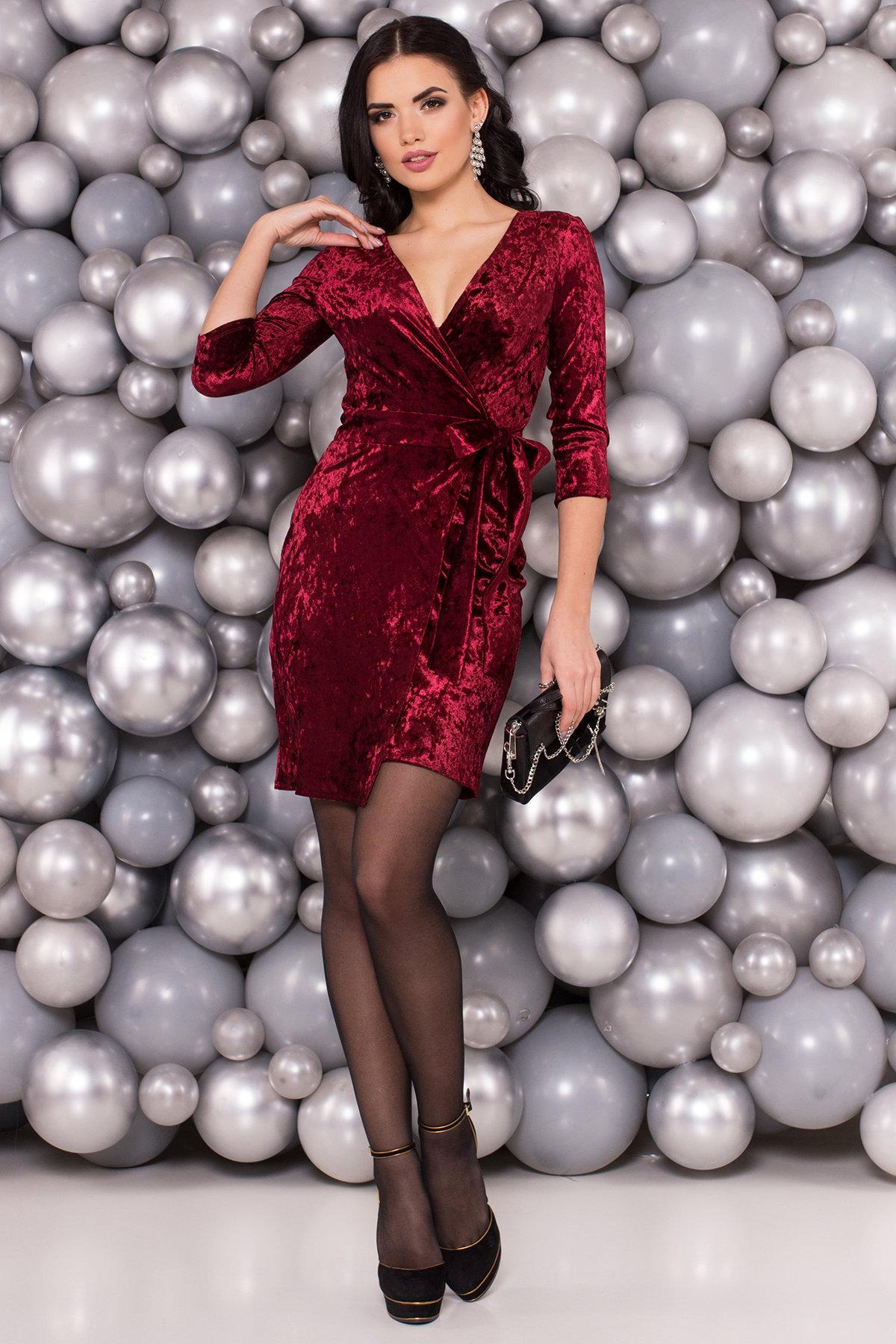 Платье Бонни SLIM велюр 6018 Цвет: Марсала