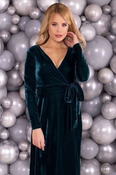 Платье Жозель миди велюр 6033 Цвет: Зеленый Темный
