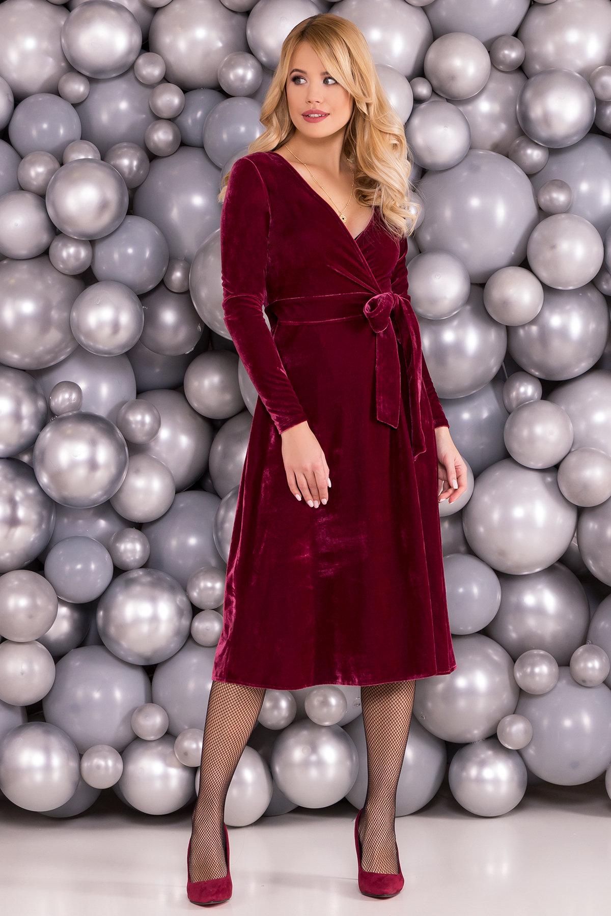 Трикотажные платья оптом Платье Жозель миди велюр 6033