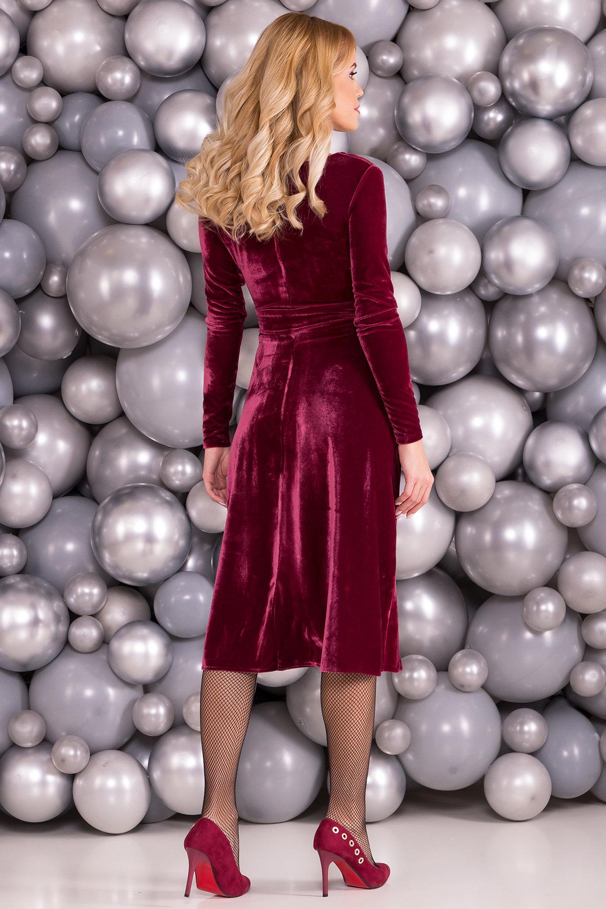 Платье Жозель миди велюр 6033 АРТ. 40680 Цвет: Марсала - фото 2, интернет магазин tm-modus.ru