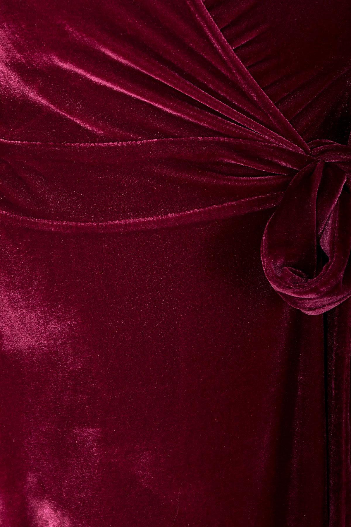 Платье Жозель миди велюр 6033 АРТ. 40680 Цвет: Марсала - фото 4, интернет магазин tm-modus.ru