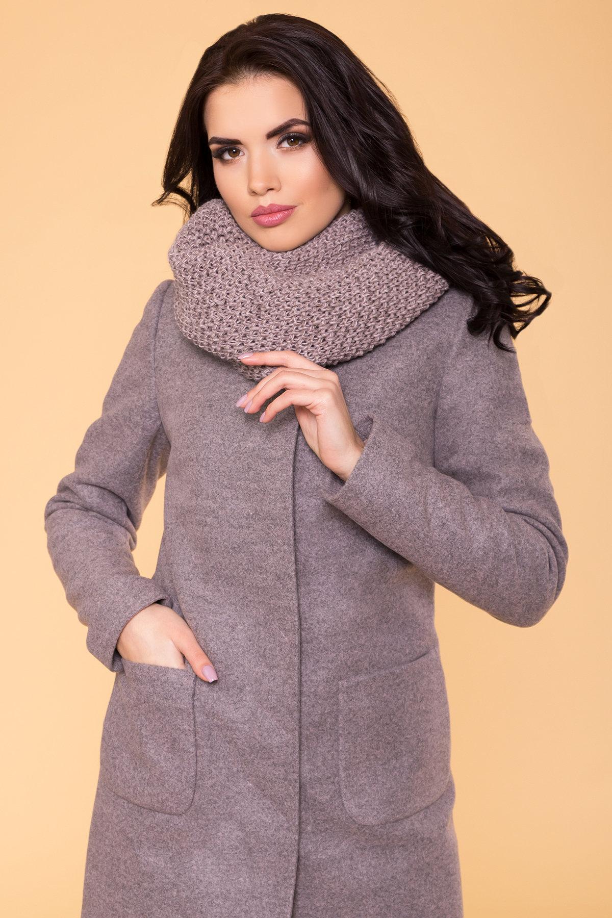 Пальто зима Мелини 5644 Цвет: Серо-розовый
