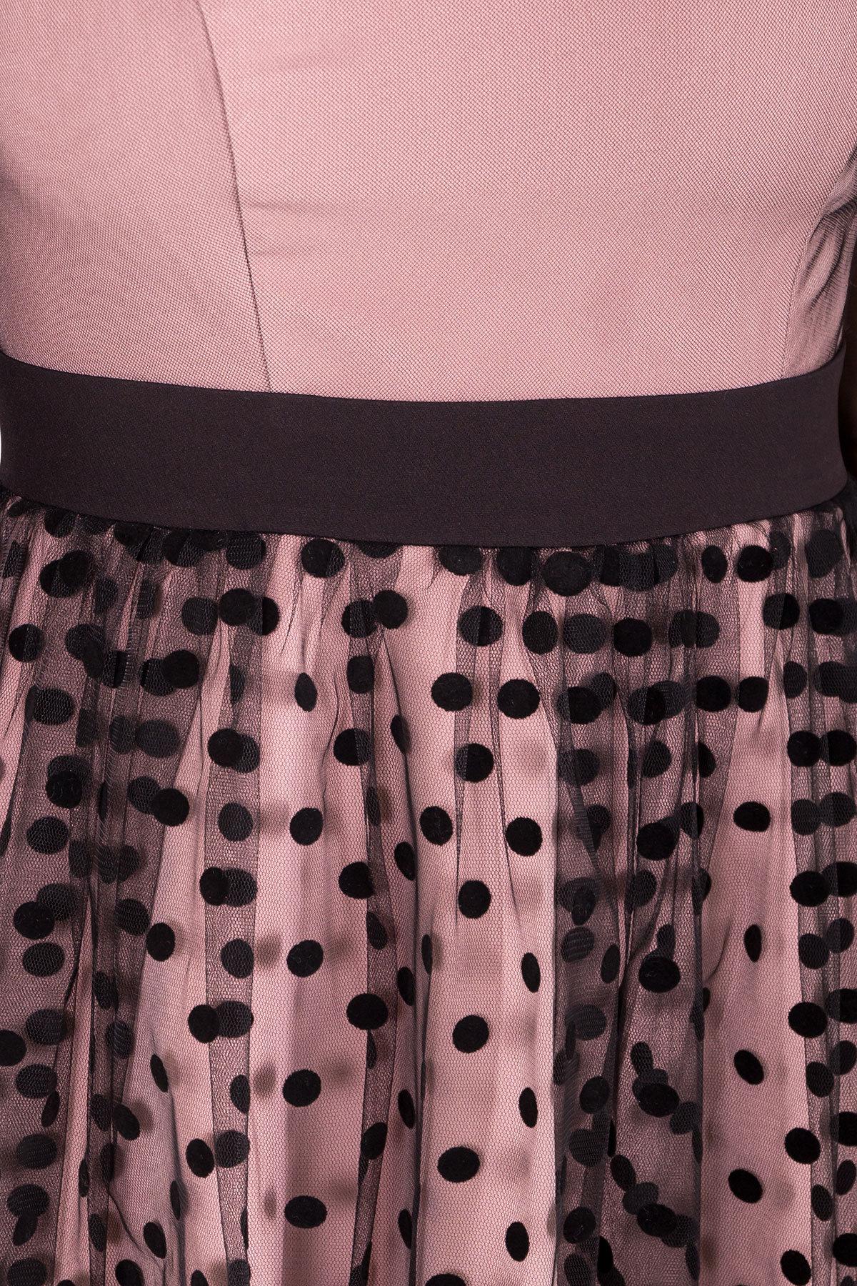 Платье Кароль 6062 Цвет: Пудра/черн горох крупный