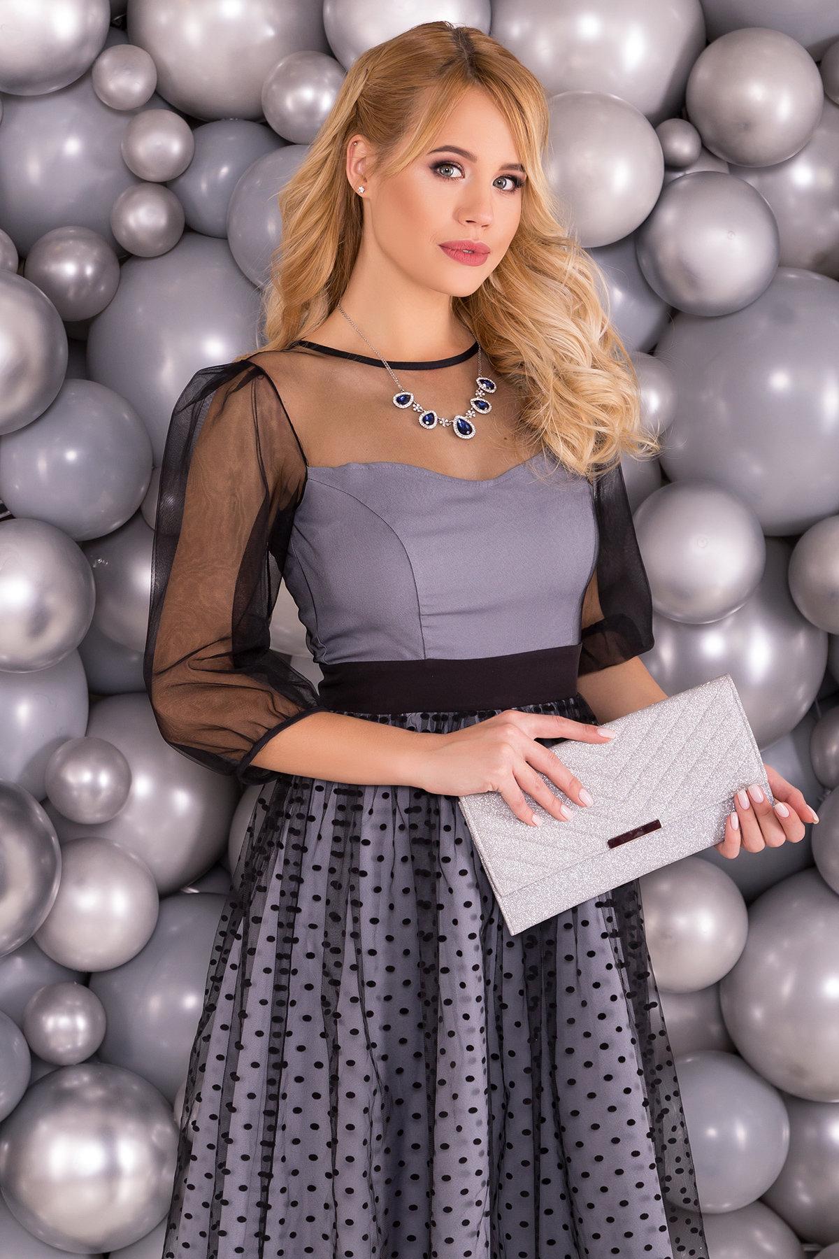 Платье с сеткой сверху Кароль 6062 Цвет: Серый/черн горох  средний