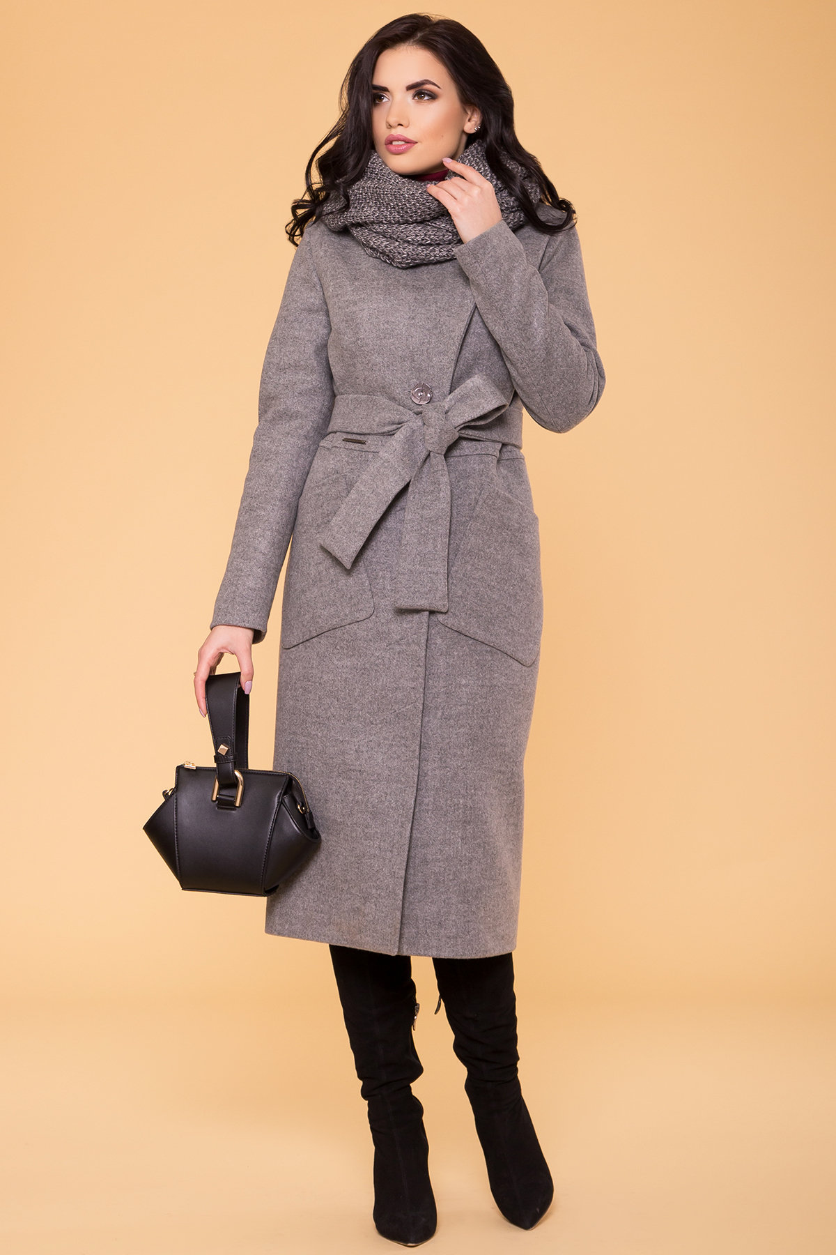 Пальто зима Габриэлла 4151 Цвет: Серый 18