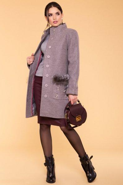 Пальто зима Ажен 5780 Цвет: Серо-розовый 19