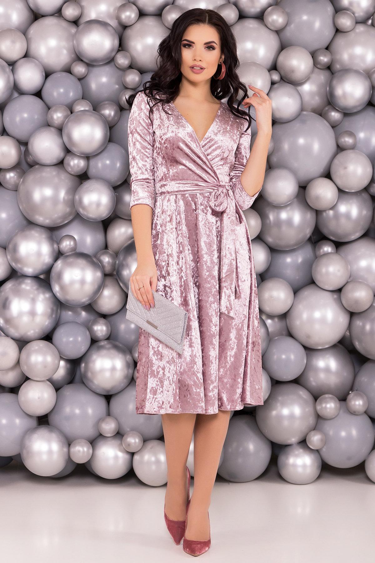 Платье миди Келли 6094 Цвет: Серо-розовый