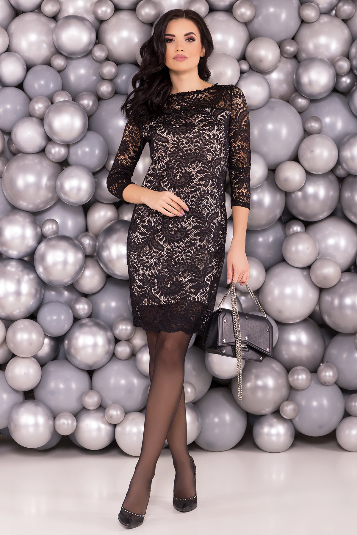 Платье Винтаж 6166 Цвет: Черный/бежевый