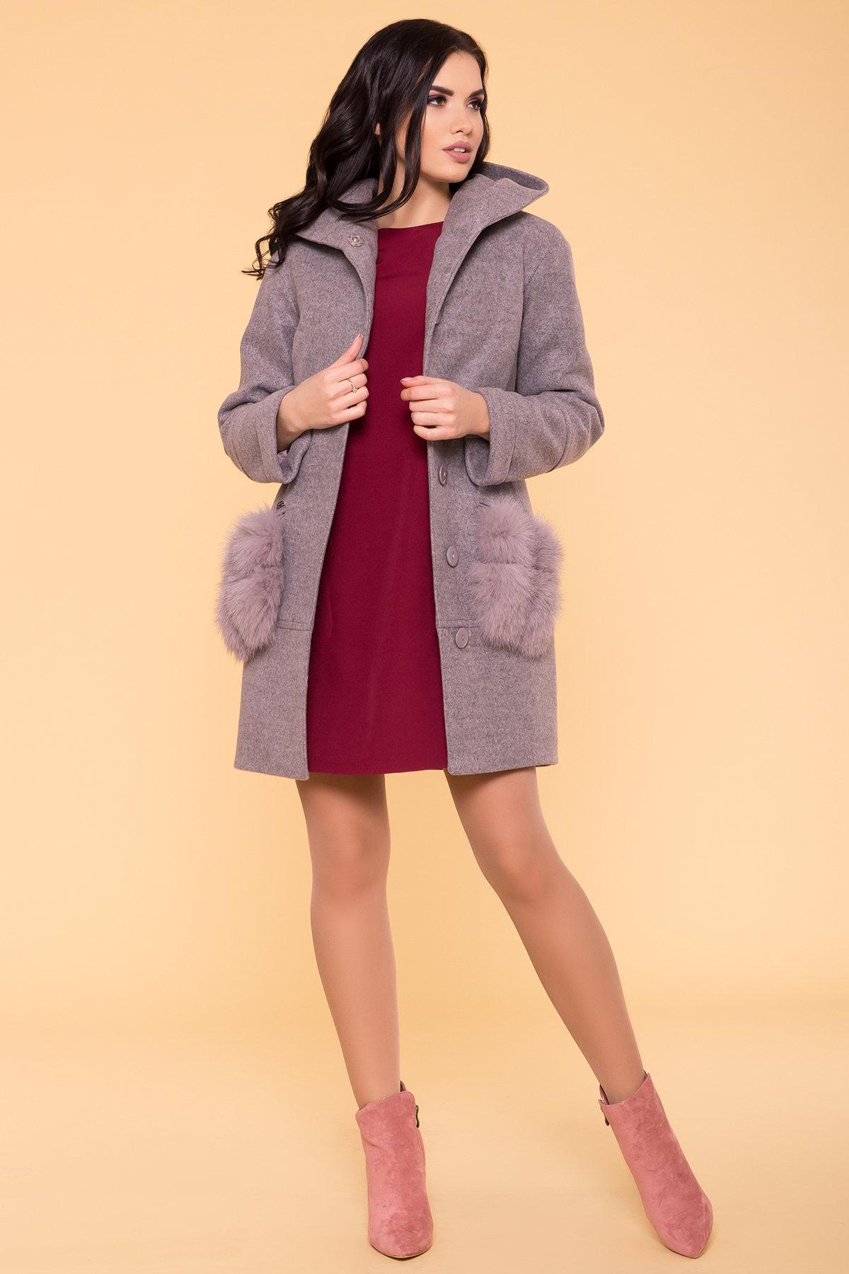 Зимнее пальто с меховыми карманами Анита 3820 АРТ. 40745 Цвет: Серо-розовый 19 - фото 3, интернет магазин tm-modus.ru