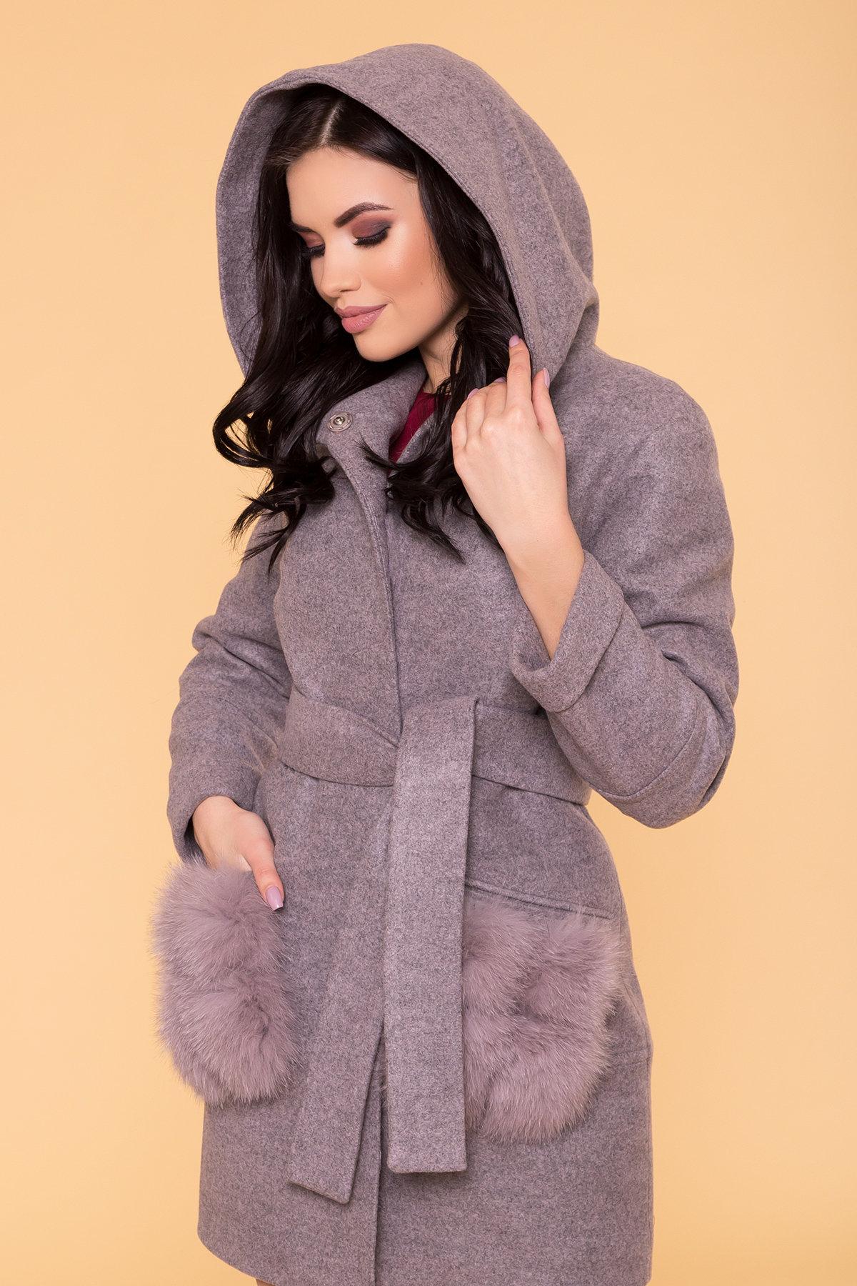 Зимнее пальто с меховыми карманами Анита 3820 АРТ. 40745 Цвет: Серо-розовый 19 - фото 5, интернет магазин tm-modus.ru
