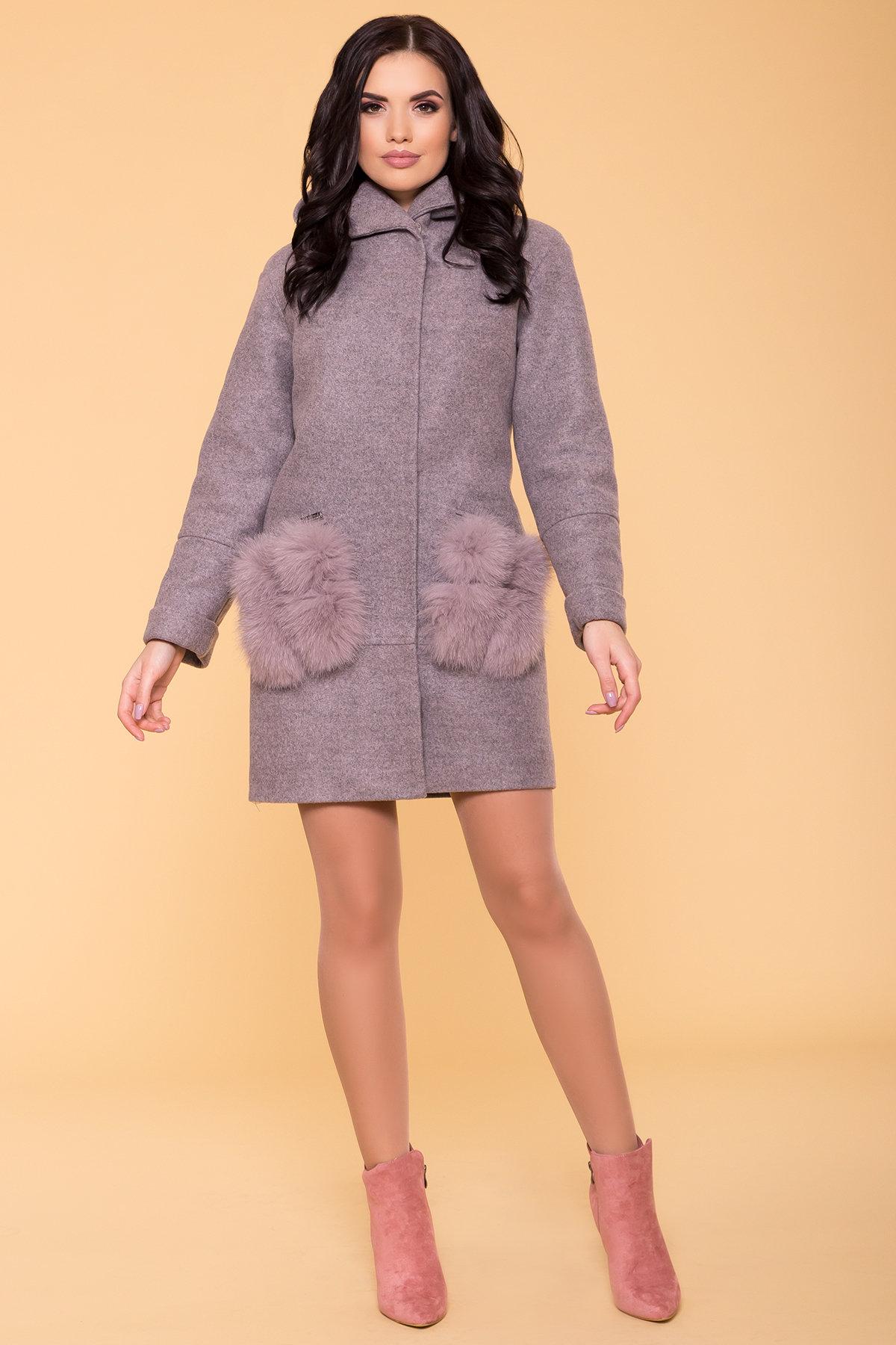 Зимнее пальто с меховыми карманами Анита 3820 АРТ. 40745 Цвет: Серо-розовый 19 - фото 4, интернет магазин tm-modus.ru
