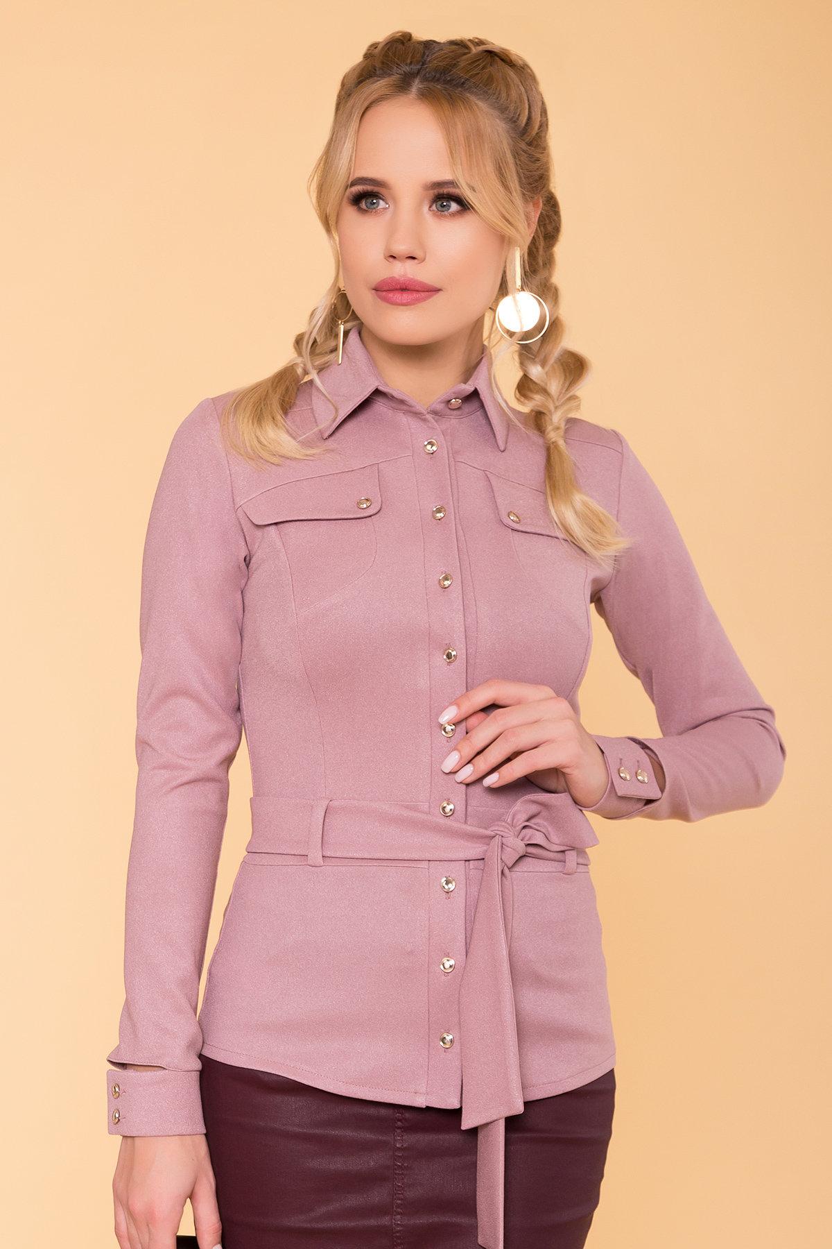 Повседневная рубашка из трикотажа Соня 6116 АРТ. 40842 Цвет: Чайная роза - фото 3, интернет магазин tm-modus.ru