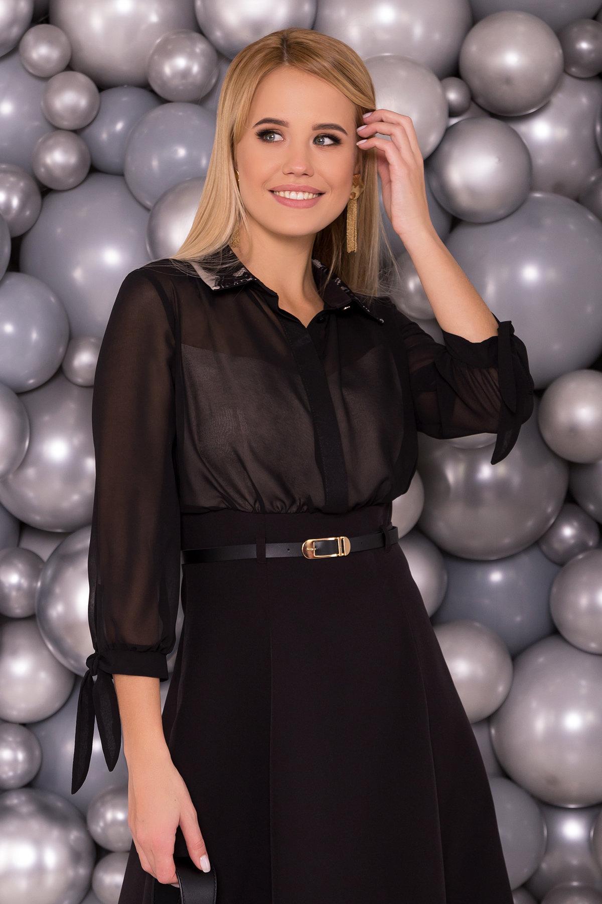 Платье Берли 5953 АРТ. 40641 Цвет: Черный/бежевый - фото 3, интернет магазин tm-modus.ru