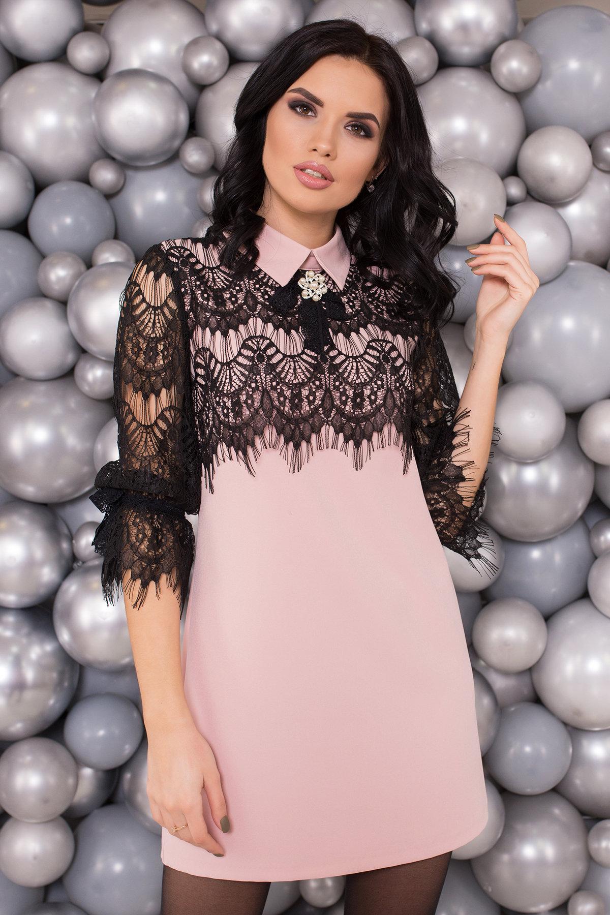 Платье Арабель 4159 Цвет: Пудра/Черный