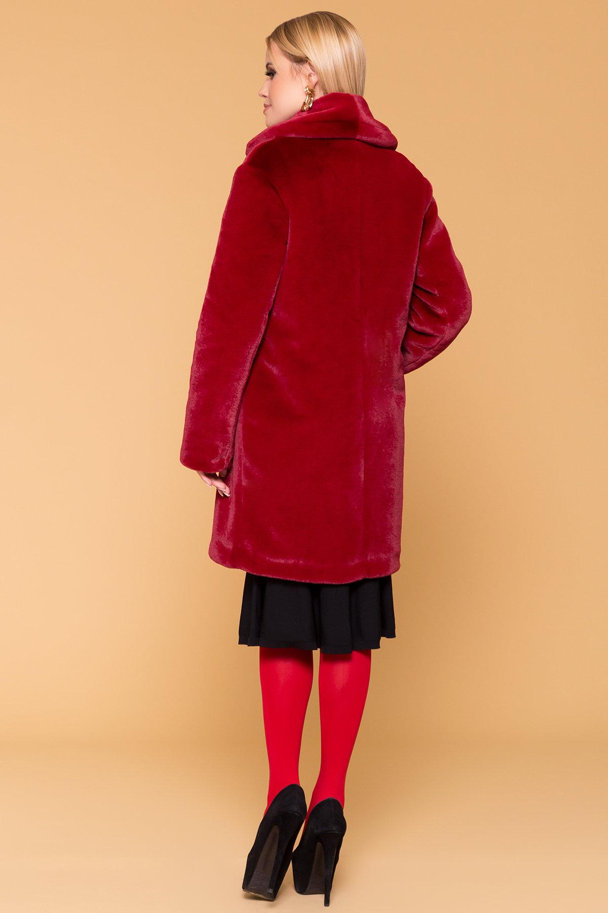 Эко шуба красного цвета Субира 4287 АРТ. 20758 Цвет: Марсала - фото 2, интернет магазин tm-modus.ru