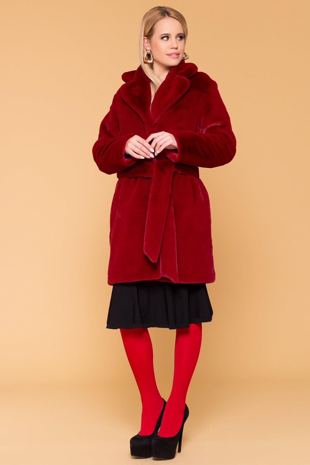 жилеты из натурального меха Эко шуба красного цвета Субира 4287