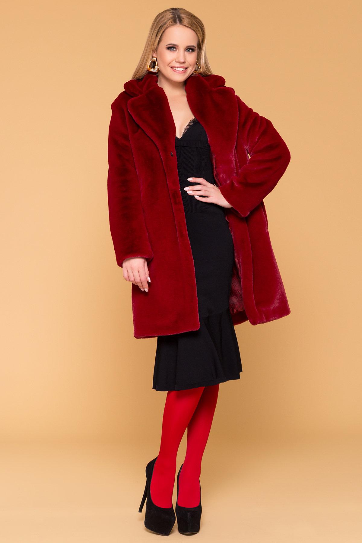 Эко шуба красного цвета Субира 4287 АРТ. 20758 Цвет: Марсала - фото 3, интернет магазин tm-modus.ru