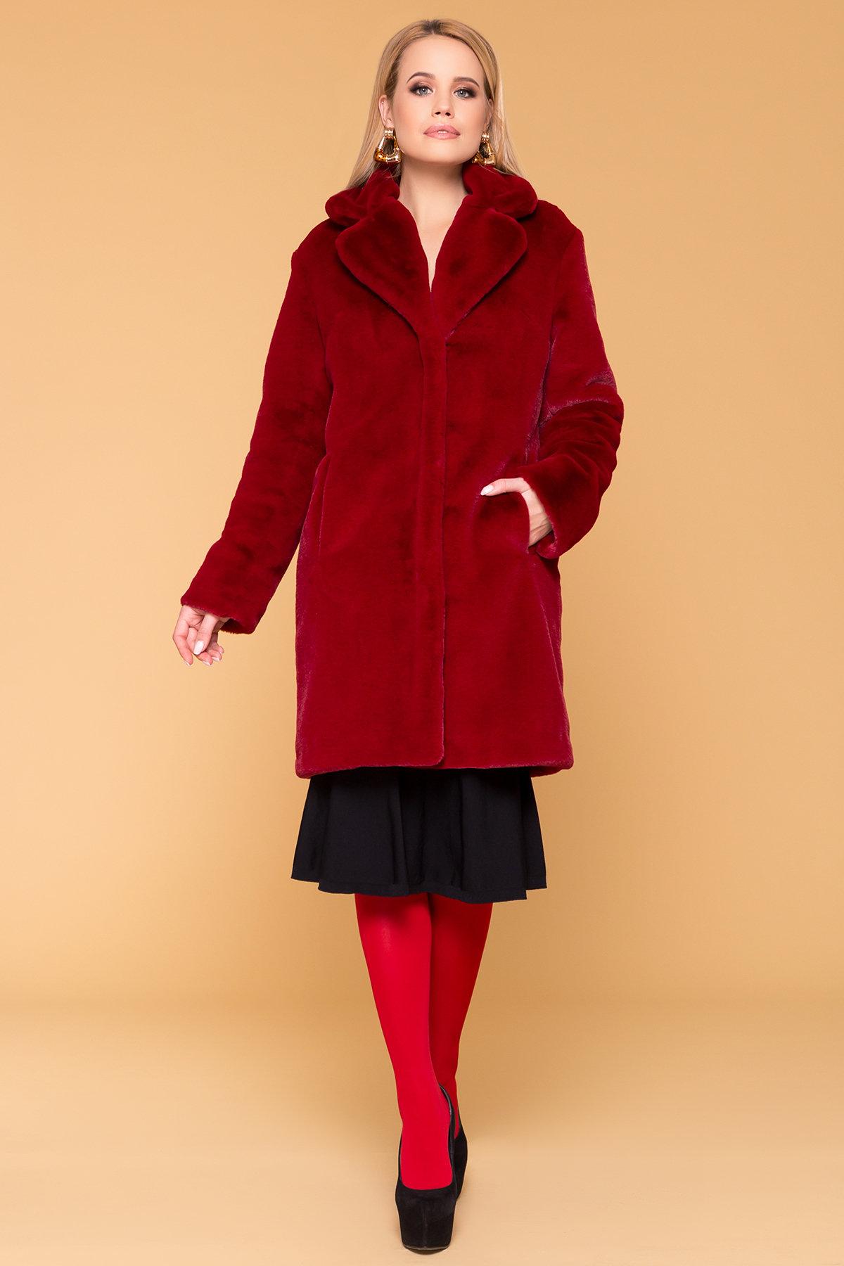 Эко шуба красного цвета Субира 4287 АРТ. 20758 Цвет: Марсала - фото 4, интернет магазин tm-modus.ru