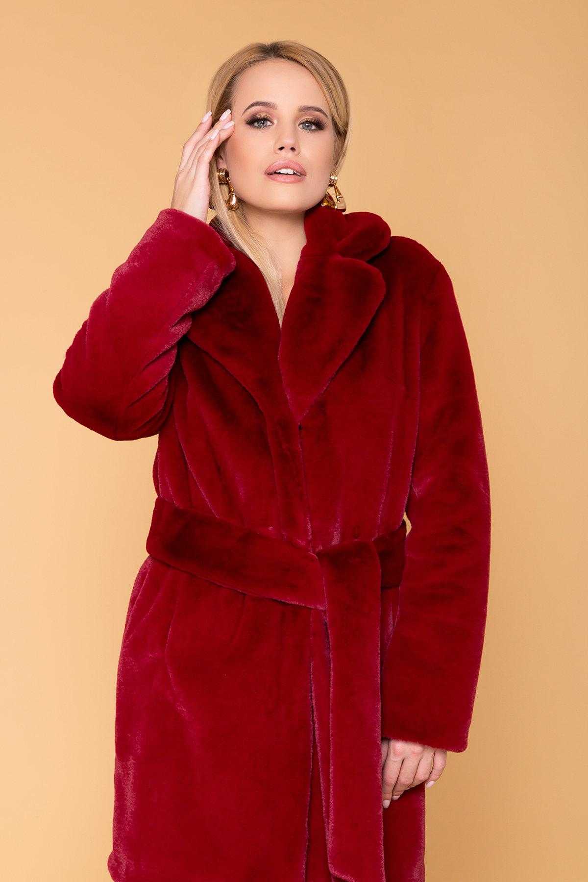 Эко шуба красного цвета Субира 4287 АРТ. 20758 Цвет: Марсала - фото 5, интернет магазин tm-modus.ru