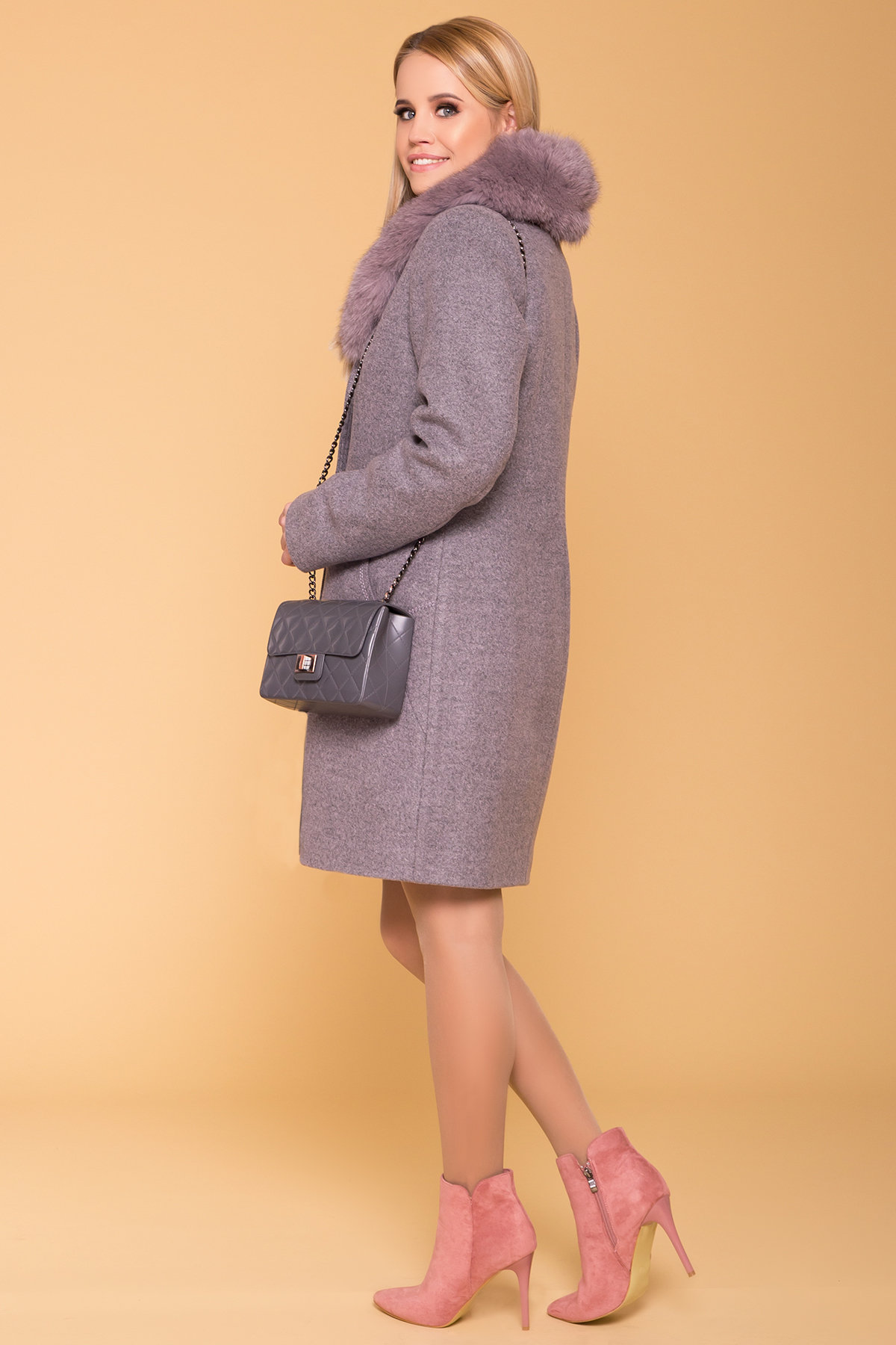 Пальто зима Камила 5611 АРТ. 40711 Цвет: Серо-розовый 19 - фото 2, интернет магазин tm-modus.ru