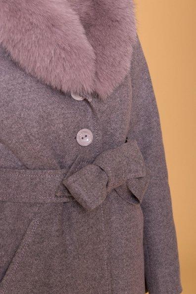 Пальто зима Камила 5611 Цвет: Серо-розовый 19