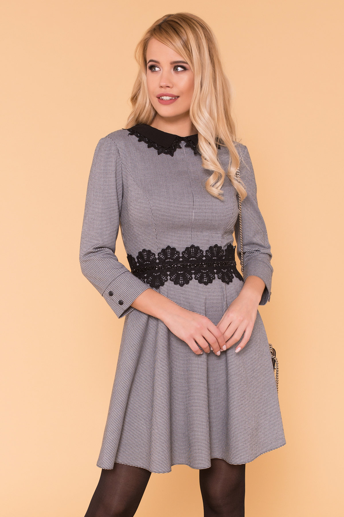 Платье с юбкой-солнце Акуна 6263 АРТ. 41029 Цвет: Черный/белый2/1 Гусин лап - фото 3, интернет магазин tm-modus.ru