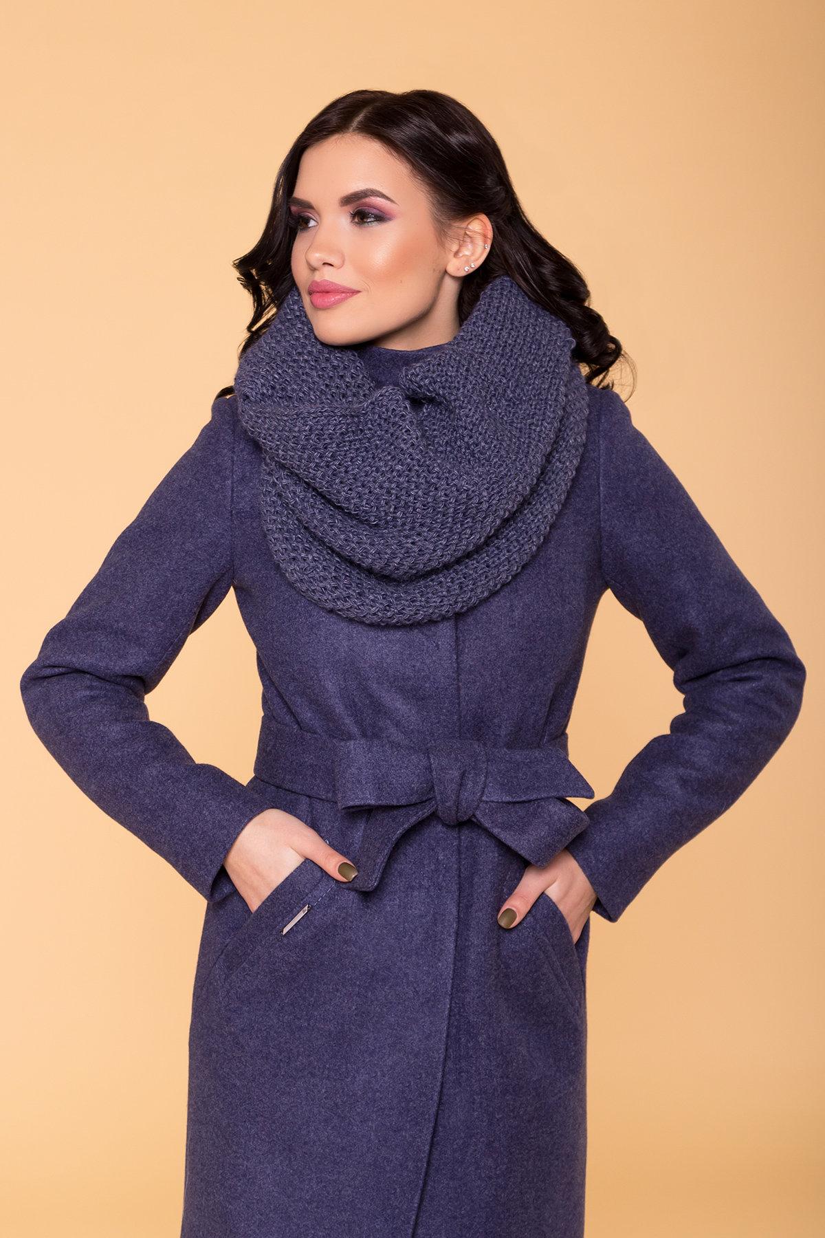 Пальто зима (шарф-хомут в комплекте) Люцея 5884 АРТ. 39421 Цвет: Джинс 57 - фото 5, интернет магазин tm-modus.ru