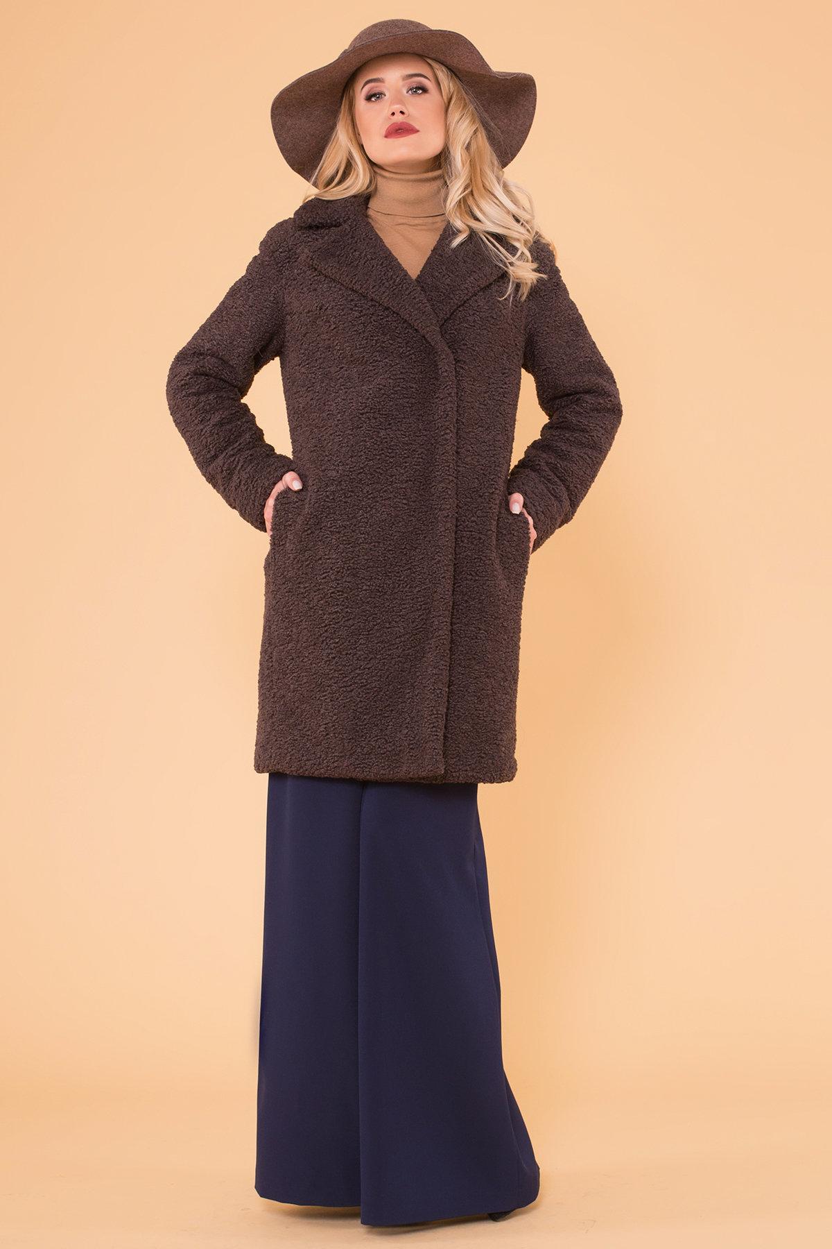 Пальто меховое зима Приора 6011 АРТ. 40971 Цвет: Шоколад - фото 1, интернет магазин tm-modus.ru