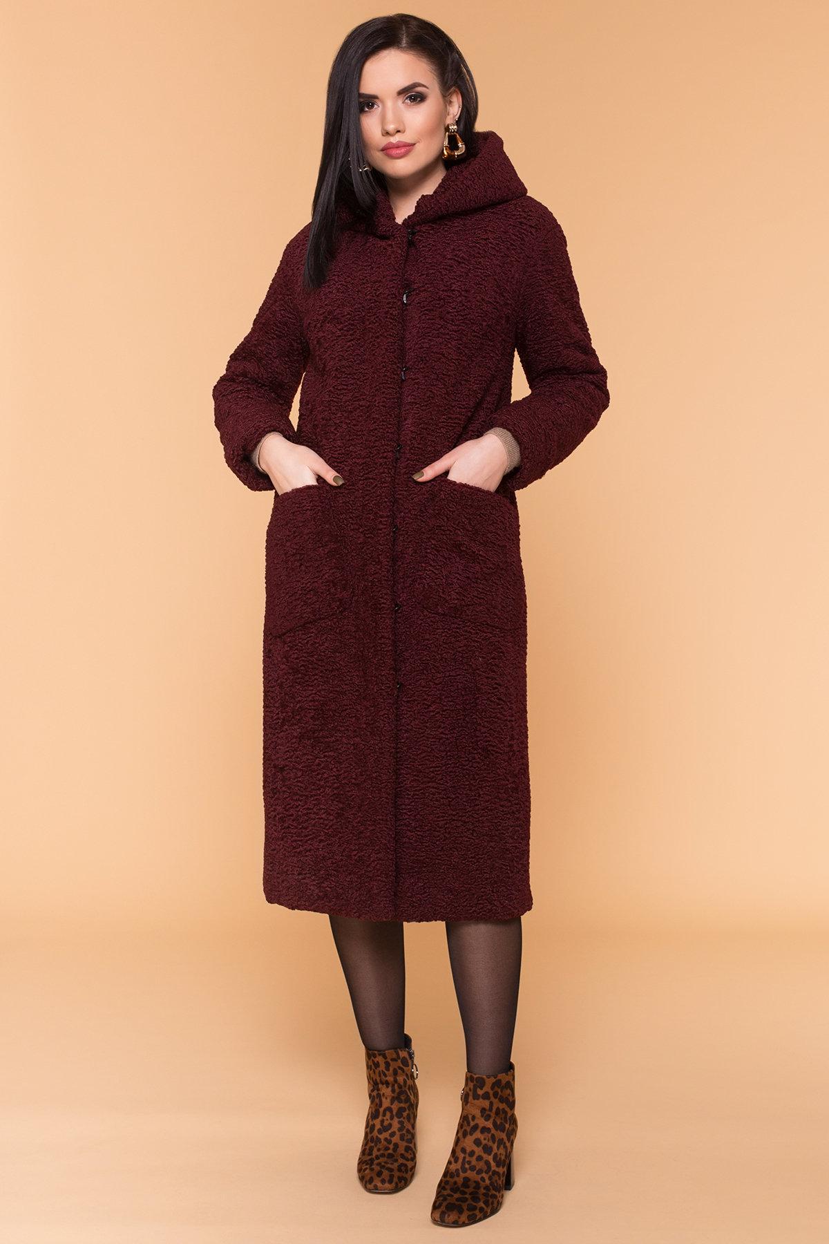 Пальто из искусственного каракуля Анита макси 6012 Цвет: Марсала