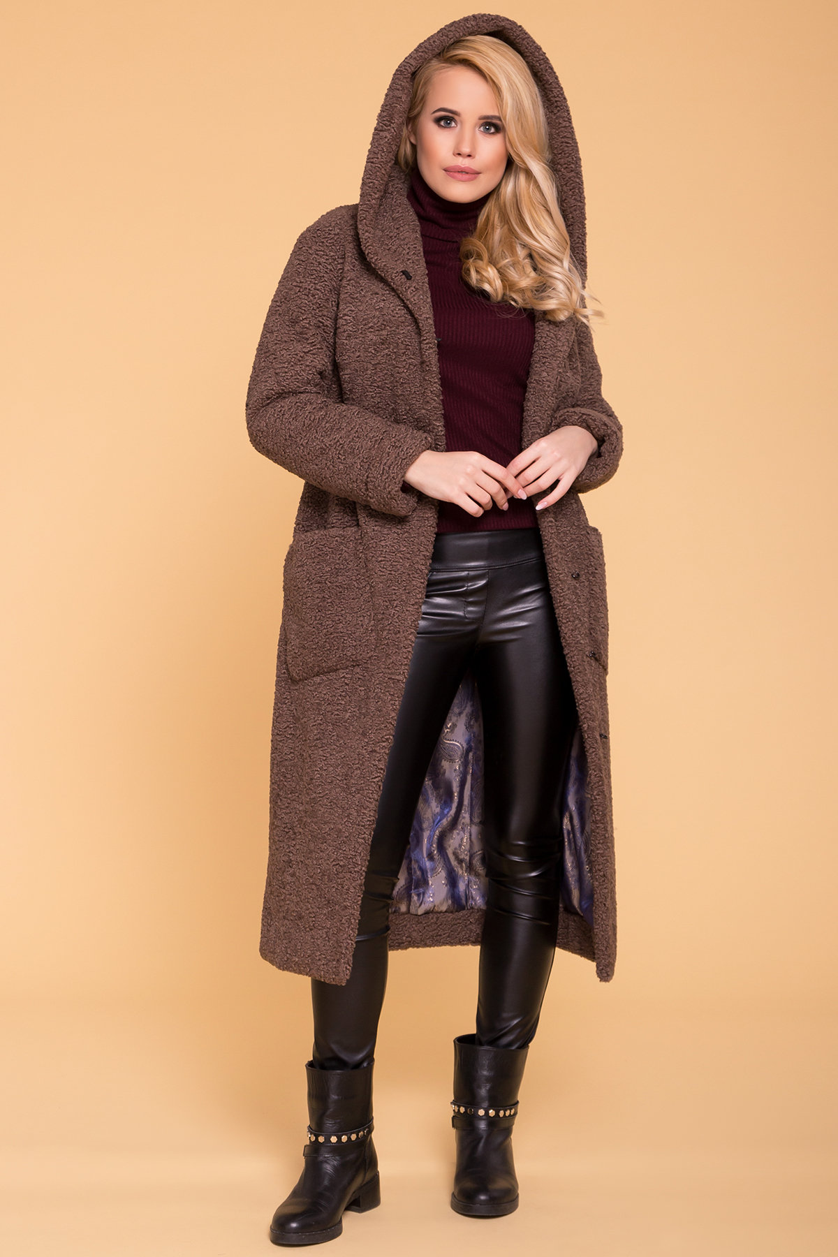 Пальто меховое зима Анита макси 6012 Цвет: Бежевый Темный