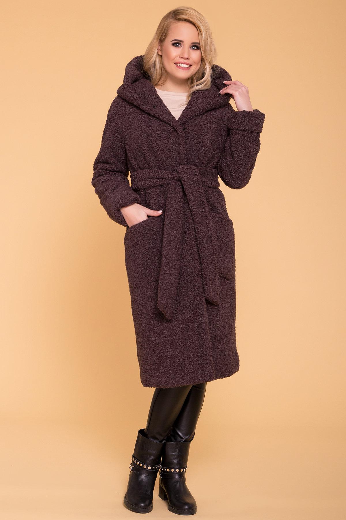 Пальто меховое зима Анита 6002 Цвет: Шоколад