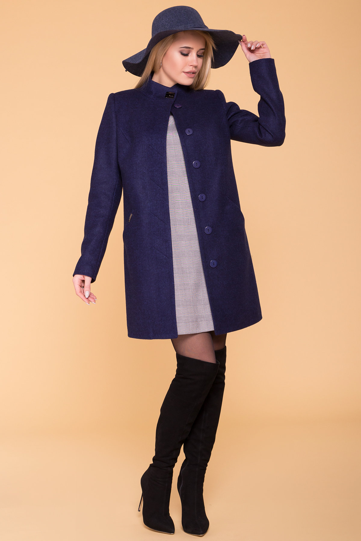 Пальто Сплит 4374 АРТ. 37660 Цвет: Темно-синий 17 - фото 3, интернет магазин tm-modus.ru