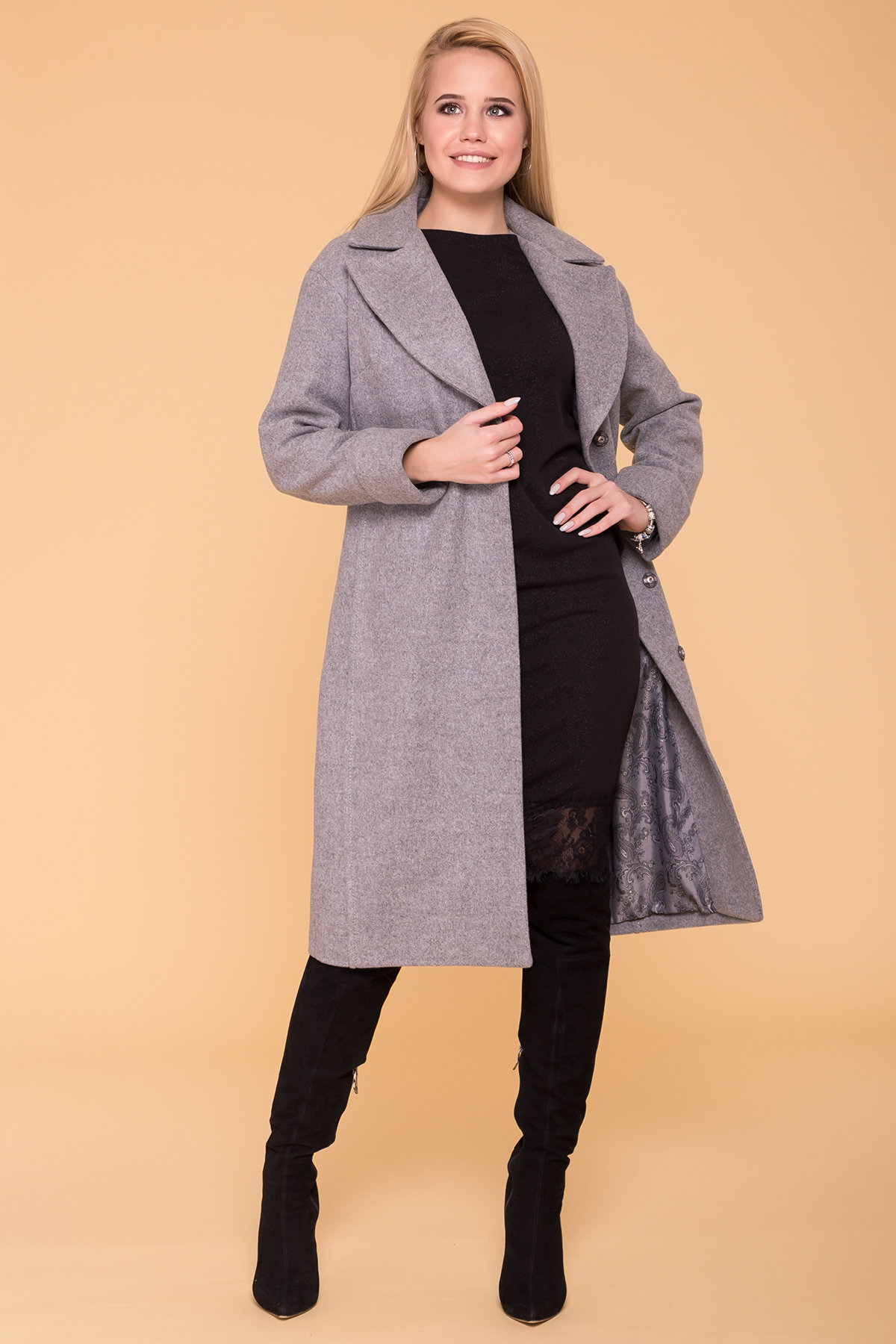 Демисезонное пальто Месси 6226 АРТ. 41053 Цвет: Серый Светлый 1 - фото 3, интернет магазин tm-modus.ru