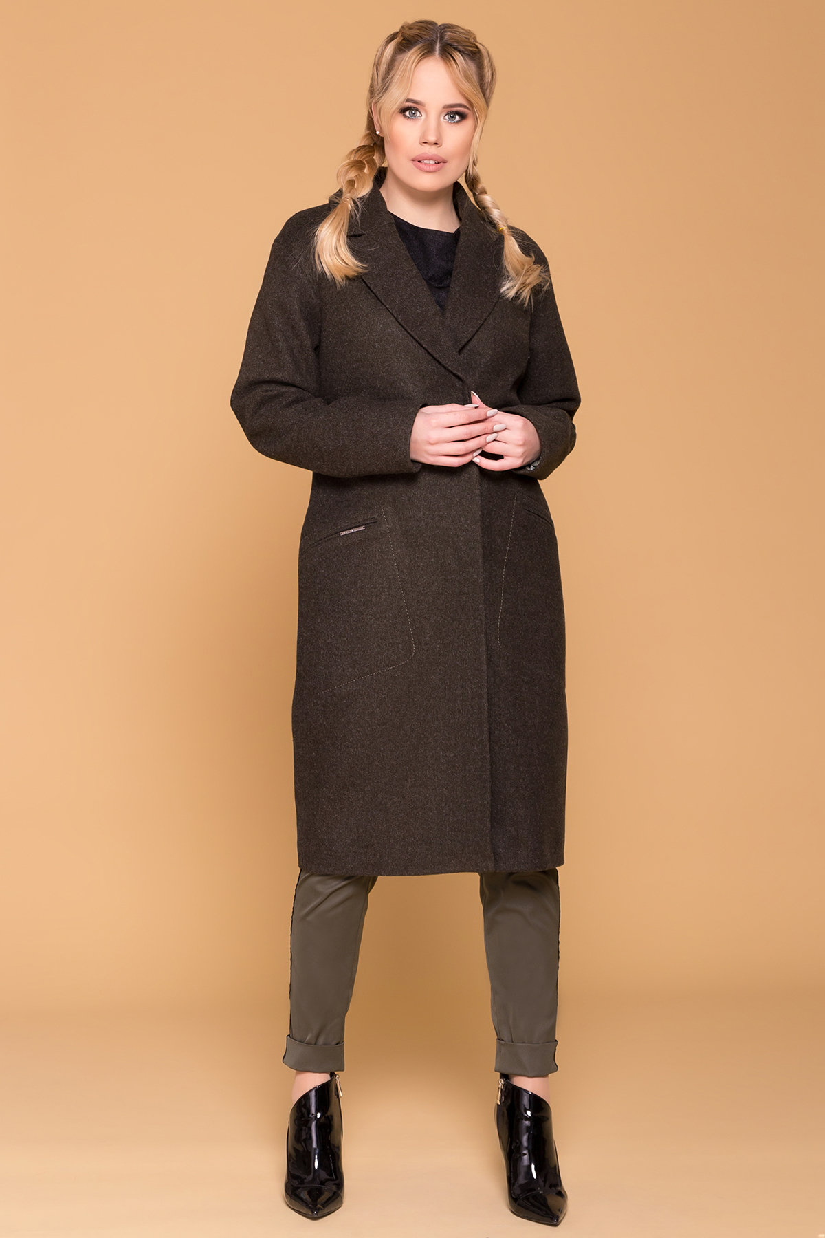 Пальто миди с прорезными карманами Ждана лайт 6337 АРТ. 41149 Цвет: Хаки 16 - фото 4, интернет магазин tm-modus.ru
