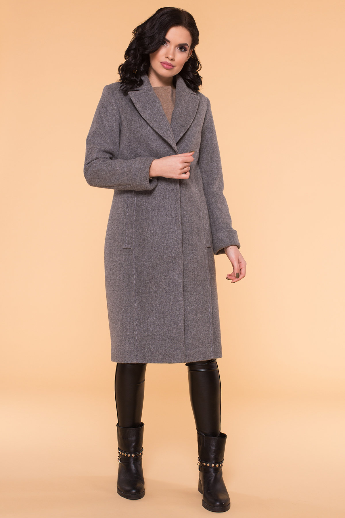 Пальто Лесли 6262 АРТ. 41034 Цвет: Серый 18 - фото 7, интернет магазин tm-modus.ru
