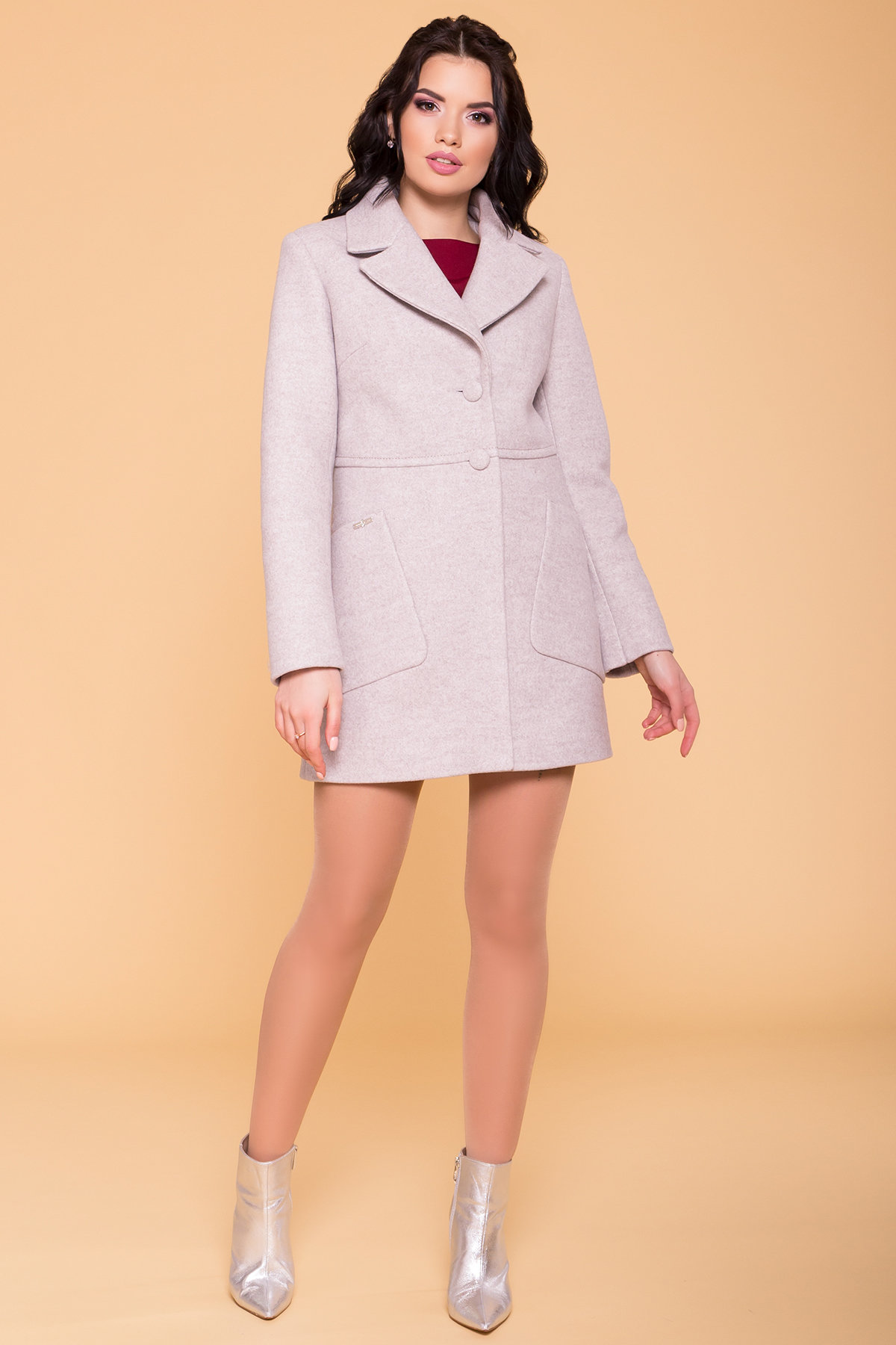 Пальто Кидмон 6220 АРТ. 41251 Цвет: Серо-бежевый 19 - фото 4, интернет магазин tm-modus.ru
