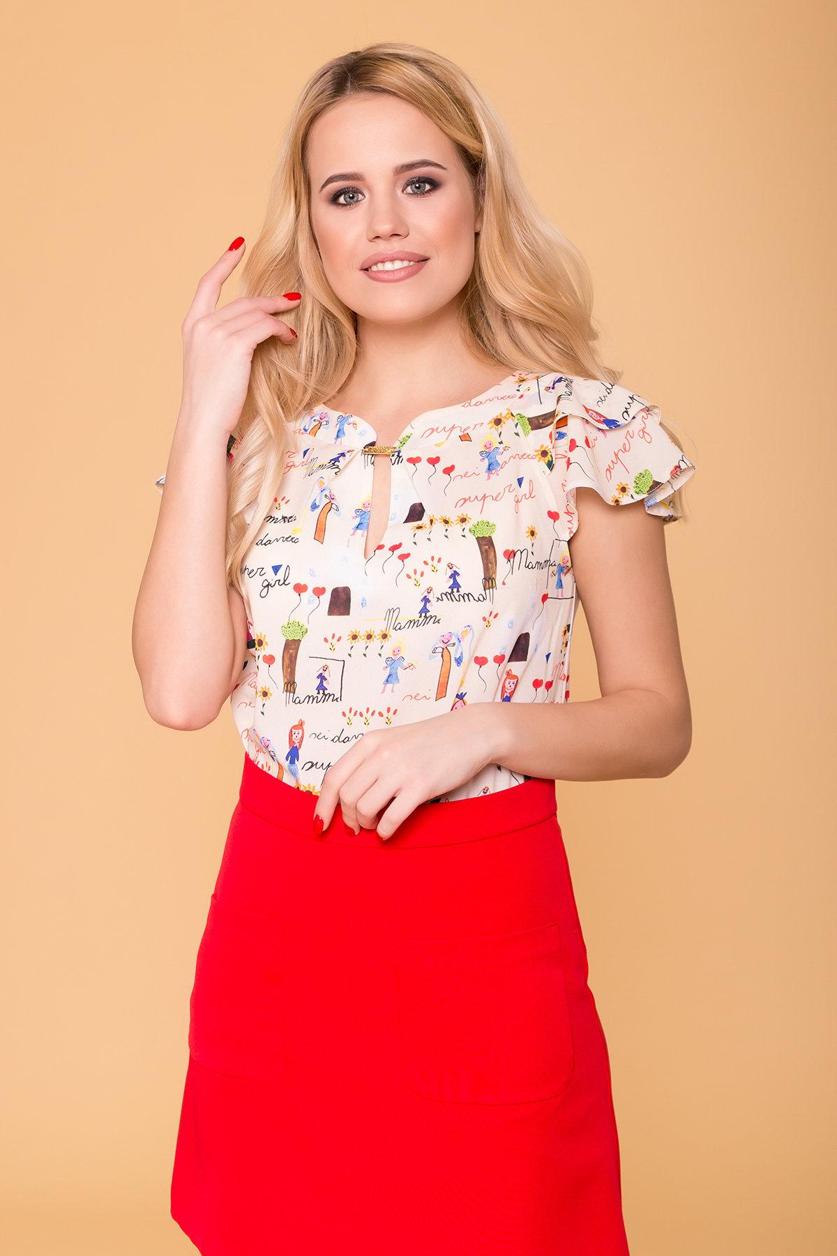 Блуза с принтом Инканто 3916 АРТ. 41401 Цвет: Беж св дет.рис.16/3 - фото 3, интернет магазин tm-modus.ru